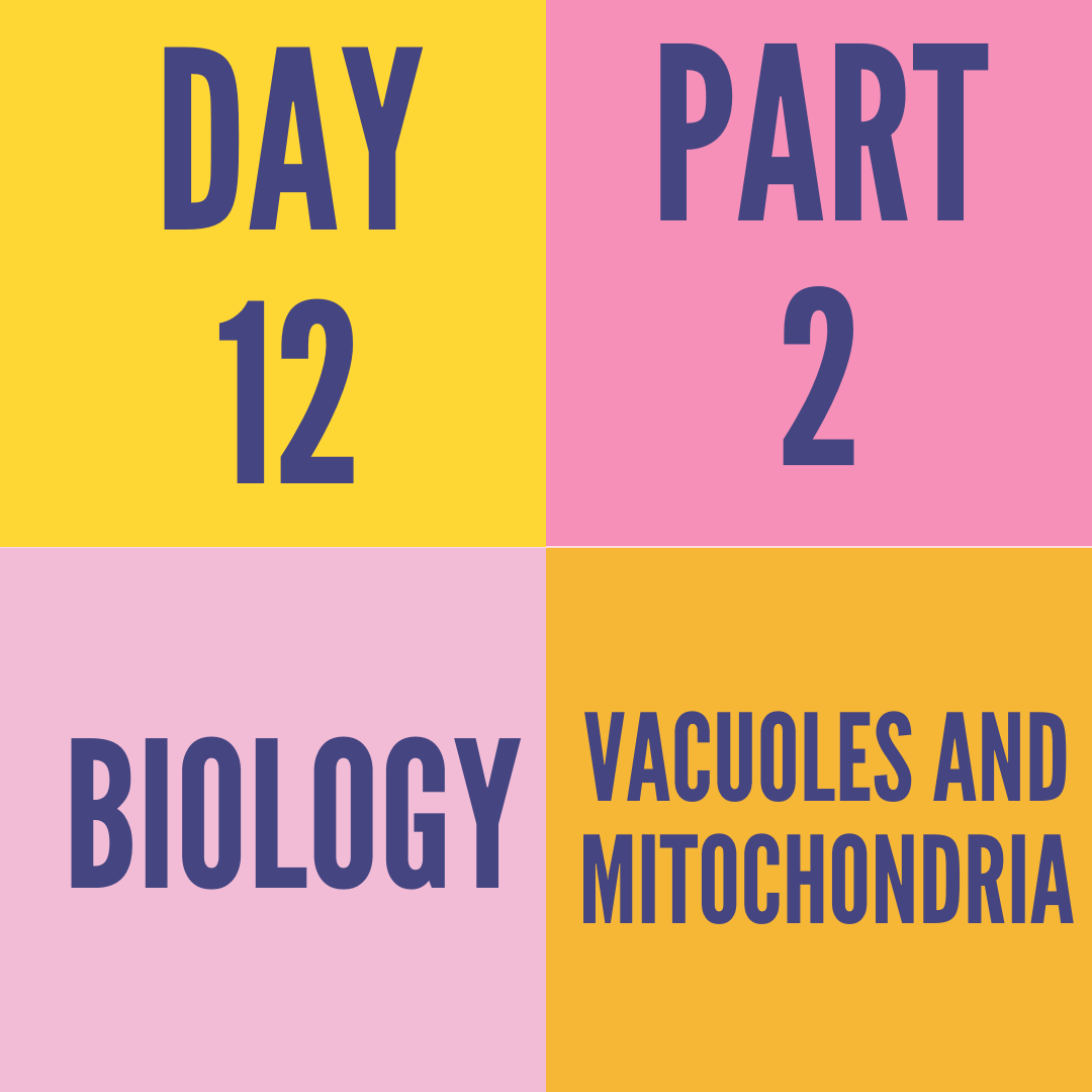 DAY-12 PART-2 VACUOLES AND MITOCHONDRIA