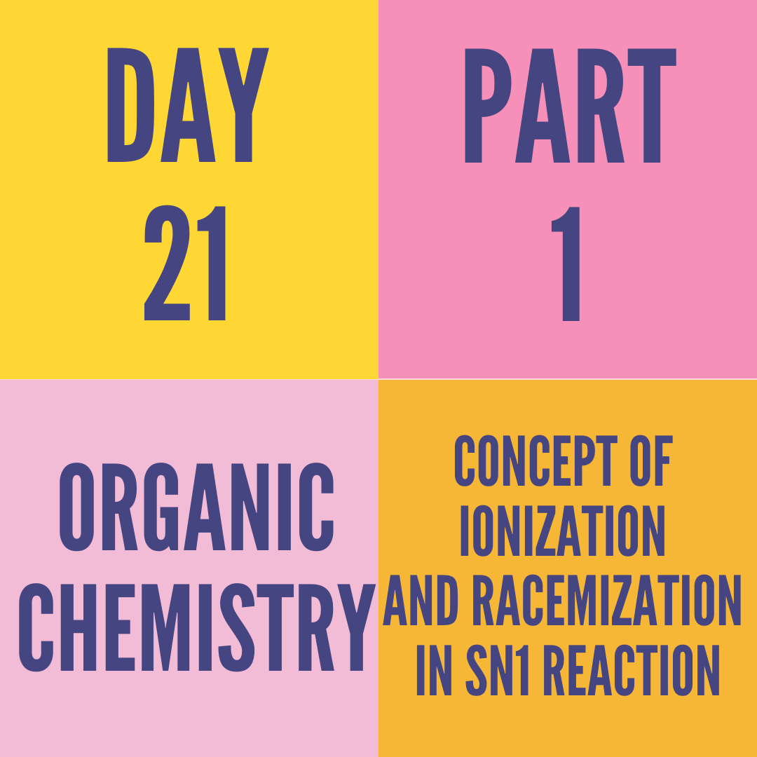 DAY-21 PART-1 CONCEPT OF IONIZATION AND RACEMIZATION IN SN1 REACTION