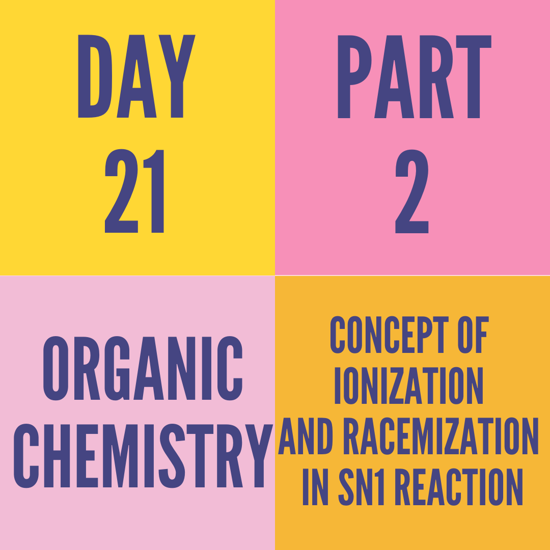 DAY-21 PART-2 CONCEPT OF IONIZATION AND RACEMIZATION IN SN1 REACTION