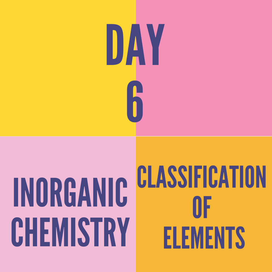 DAY-6 CLASSIFICATION  OF ELEMENTS