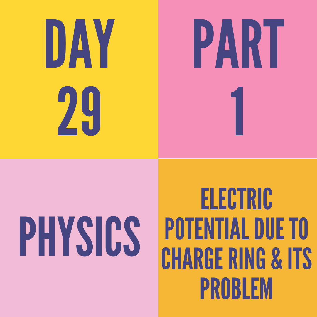 DAY-29 PART-1 ELECTRIC POTENTIAL DUE TO CHARGE RING & ITS PROBLEM