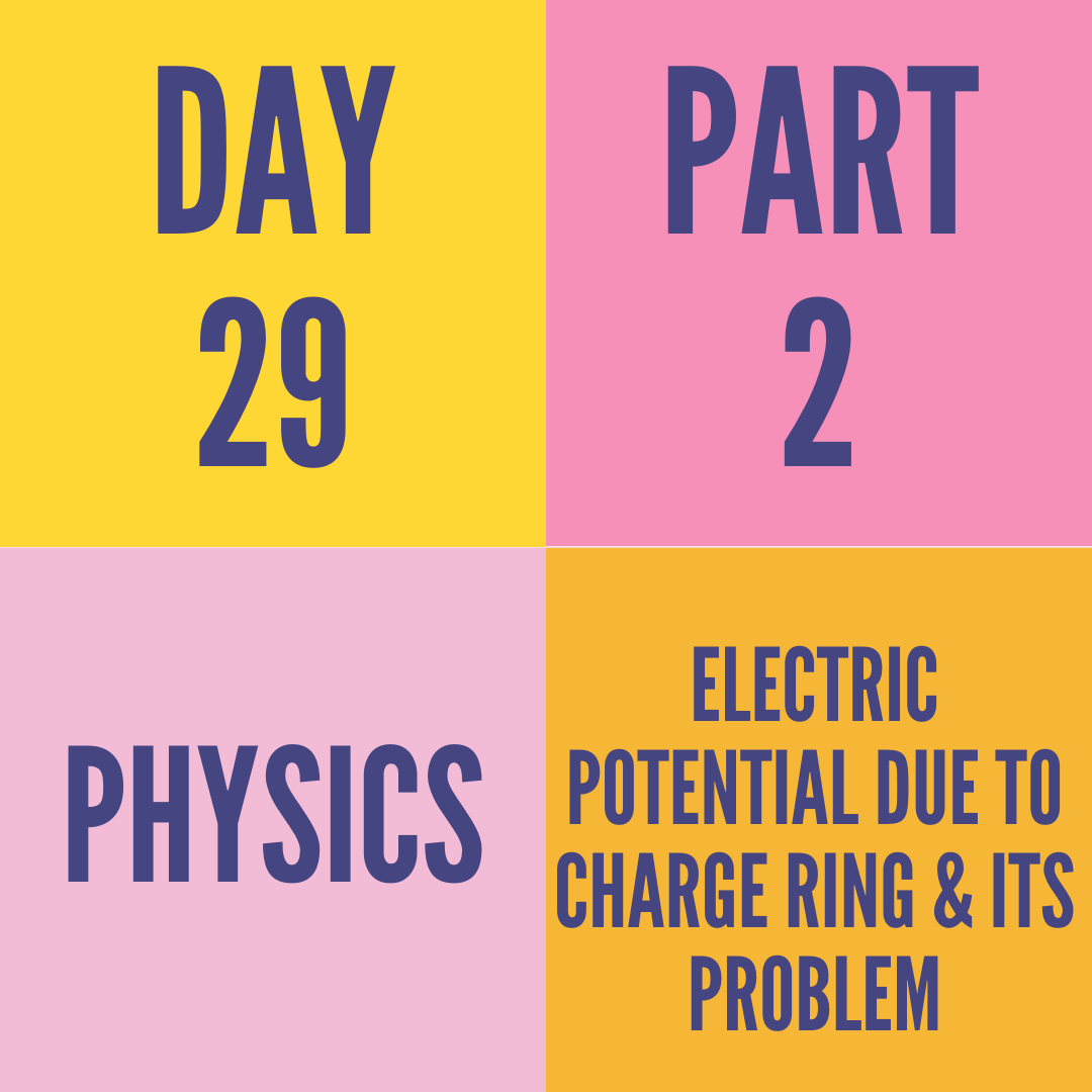 DAY 29 PART-2 ELECTRIC POTENTIAL DUE TO CHARGE RING & ITS PROBLEM