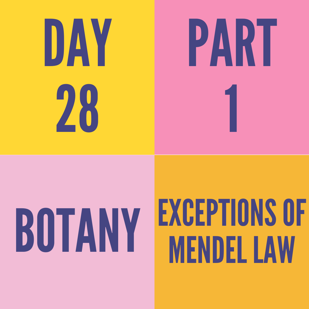 DAY-28 PART-1 EXCEPTIONS OF MENDEL LAW
