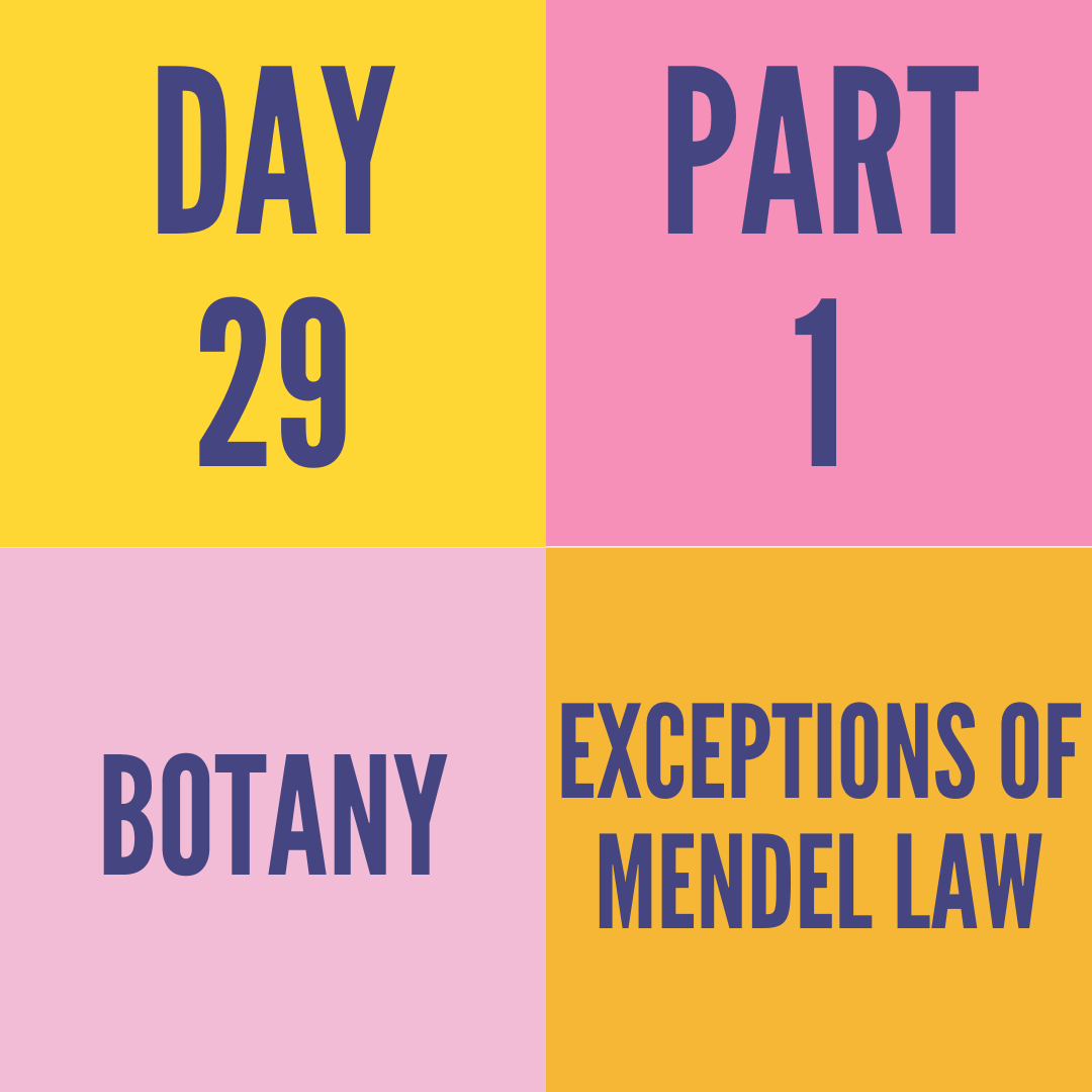 DAY-29 PART-1 EXCEPTIONS OF MENDEL LAW