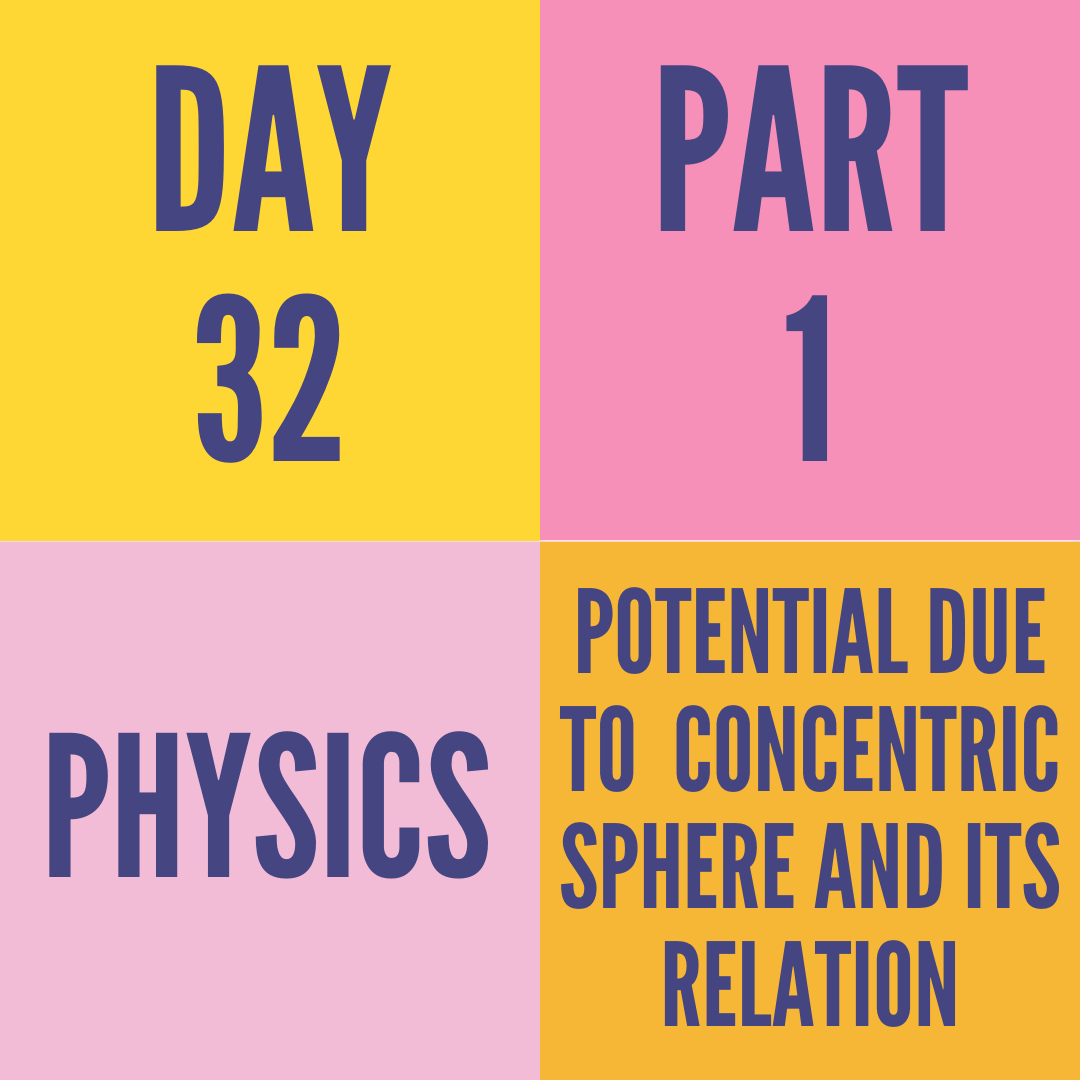 DAY-32 PART-1 POTENTIAL DUE TO  CONCENTRIC SPHERE AND ITS RELATION