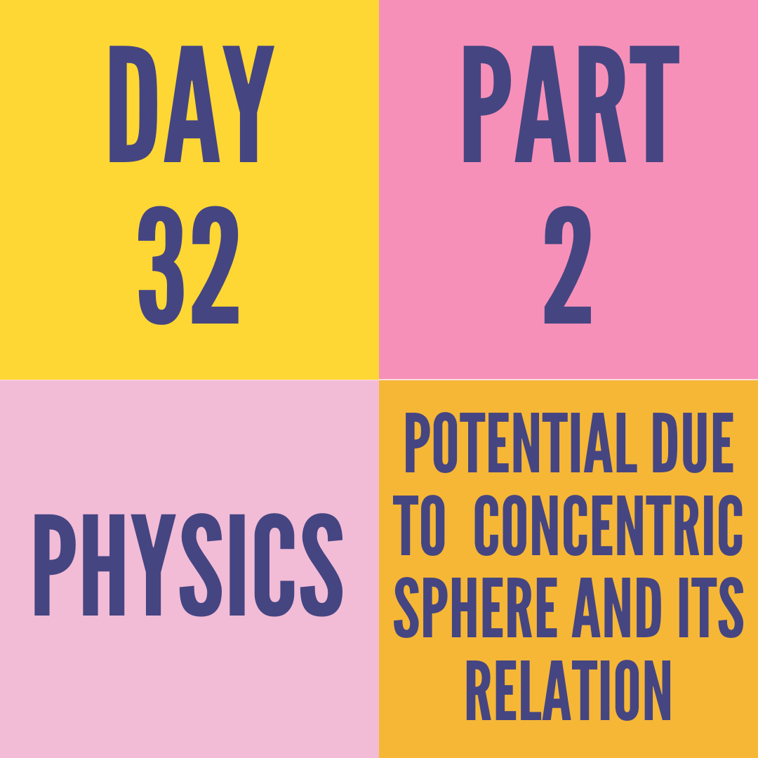 DAY-32 PART-2 POTENTIAL DUE TO  CONCENTRIC SPHERE AND ITS RELATION