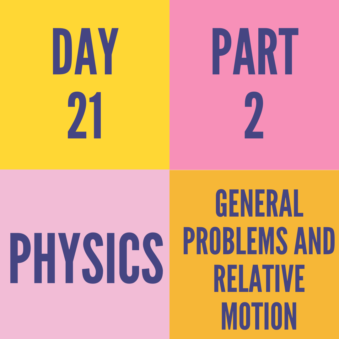 DAY-21 PART-2 GENERAL PROBLEMS AND RELATIVE MOTION