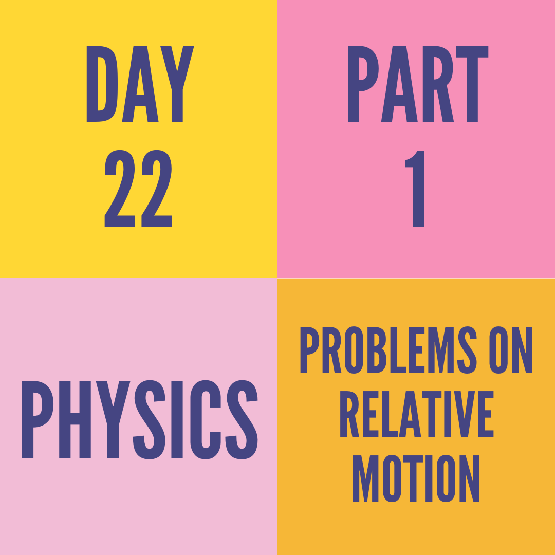 DAY-22 PART-1 PROBLEMS ON RELATIVE MOTION