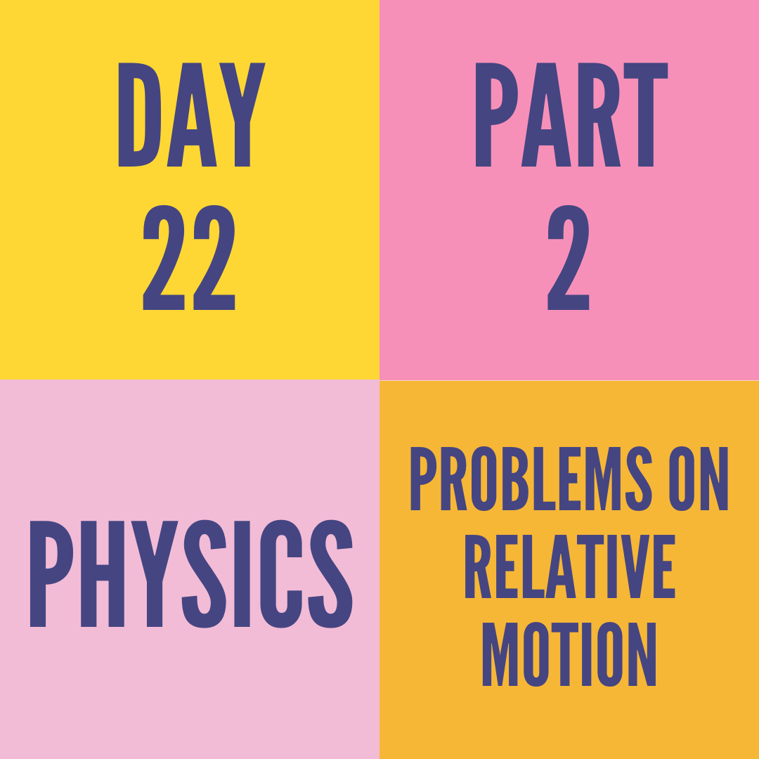 DAY-22 PART-2 PROBLEMS ON RELATIVE MOTION