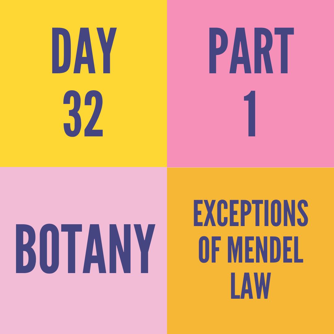 DAY-32 PART-1 EXCEPTIONS OF MENDEL LAW