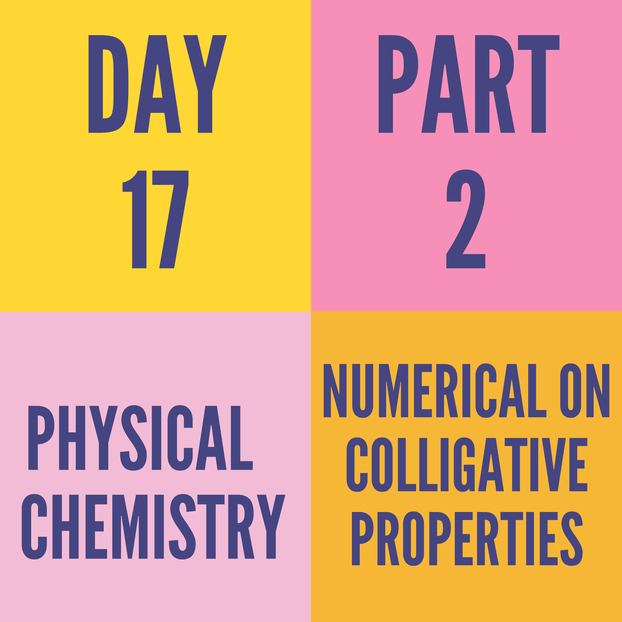 DAY-17  PART-2 NUMERICAL ON COLLIGATIVE PROPERTIES