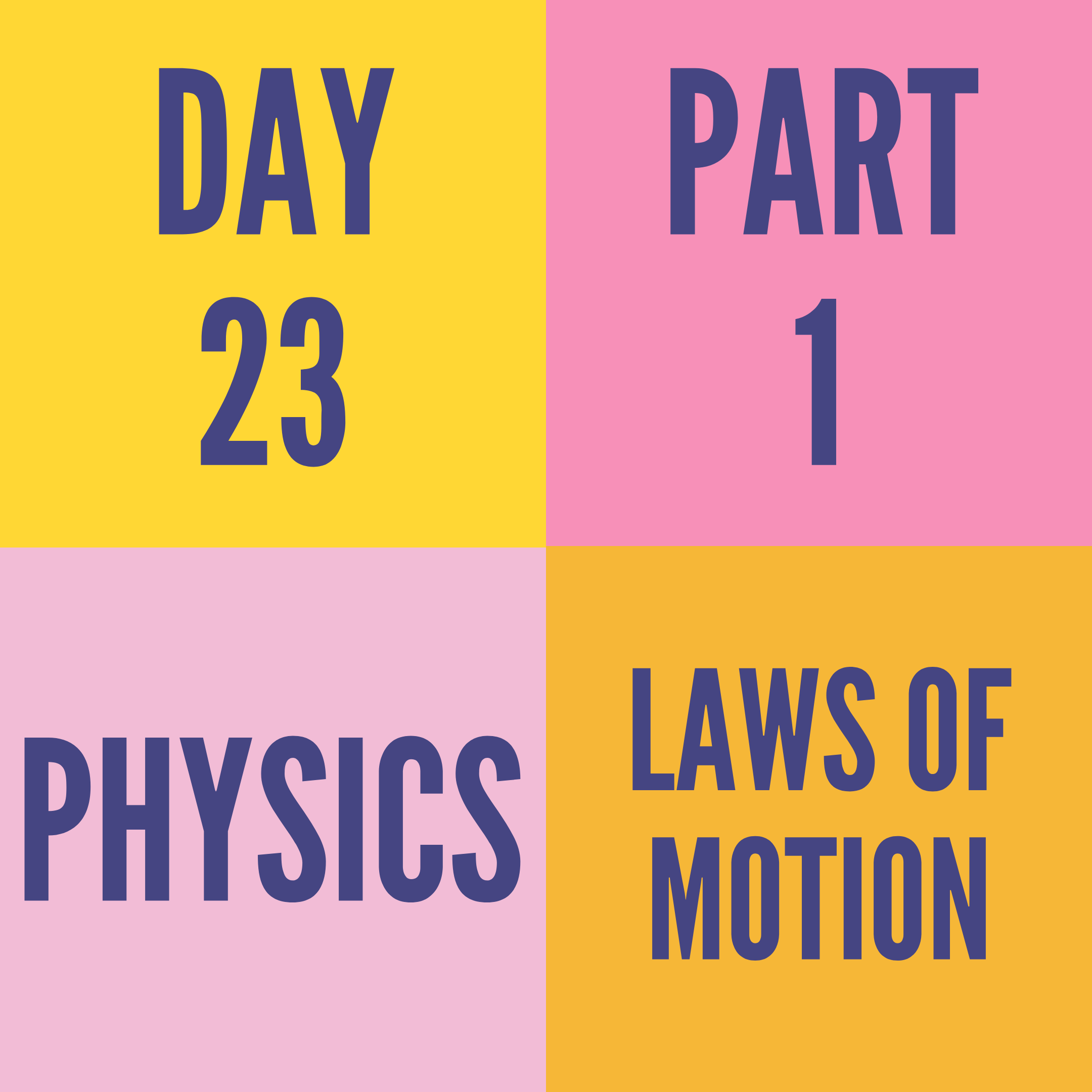 DAY-23 PART-1 LAWS OF MOTION