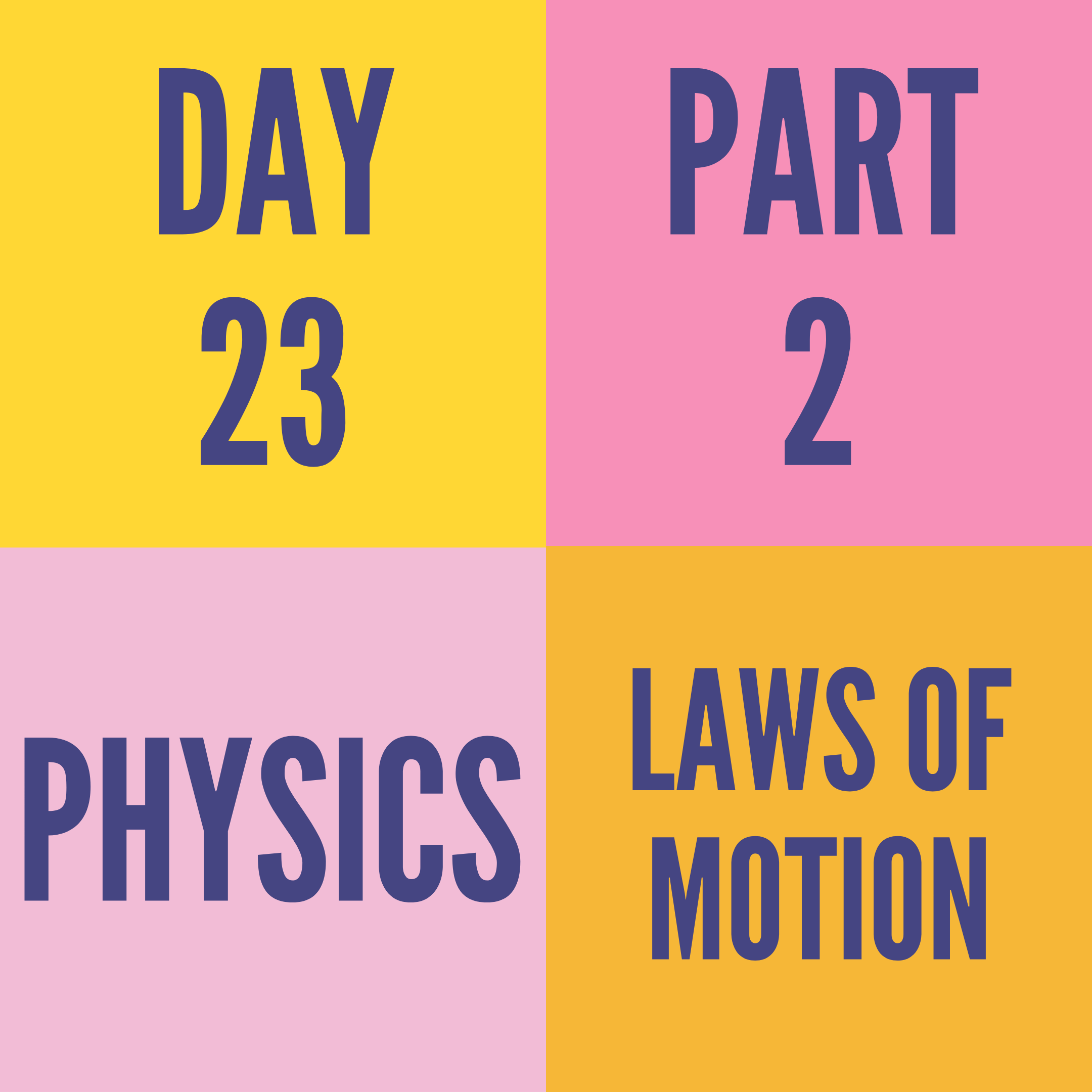 DAY-23 PART-2 LAWS OF MOTION
