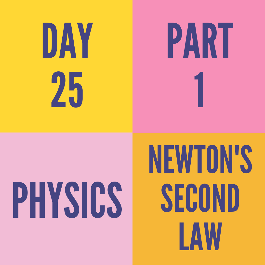 DAY-25 PART-1 NEWTON'S SECOND LAW