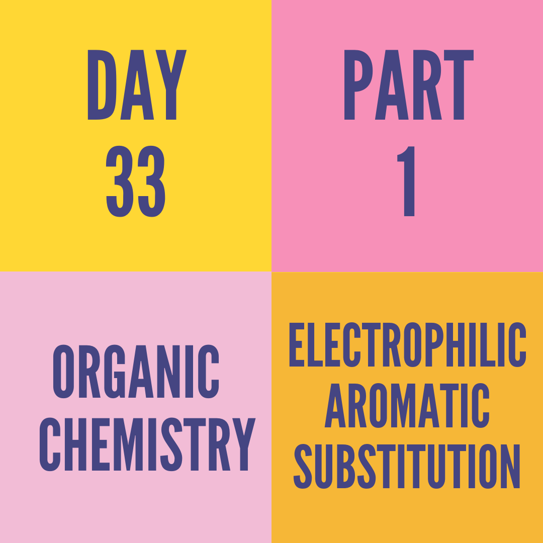 DAY-33 PART-1 ELECTROPHILIC AROMATIC SUBSTITUTION