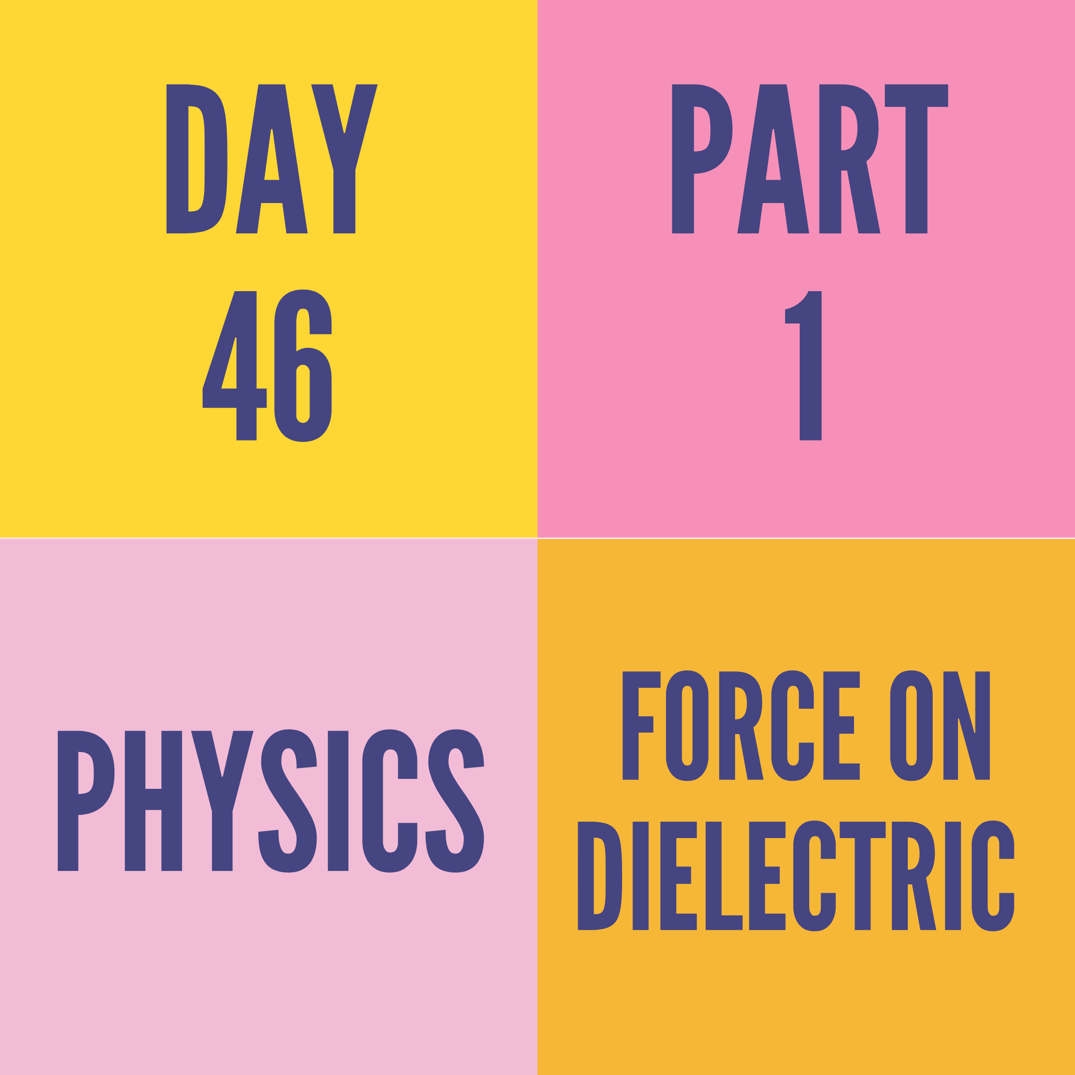 DAY-46 PART-1  FORCE ON DIELECTRIC