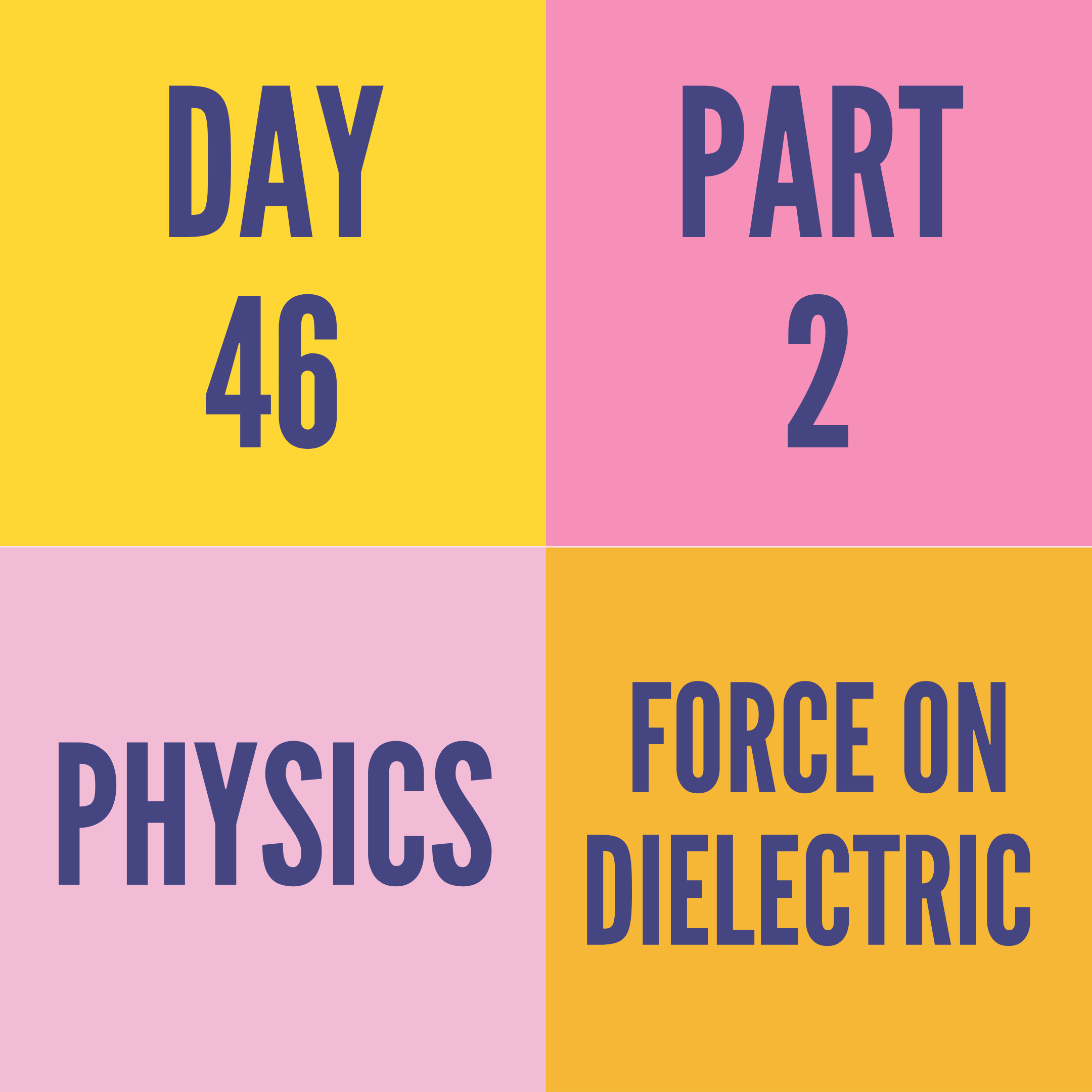 DAY-46 PART-2  FORCE ON DIELECTRIC