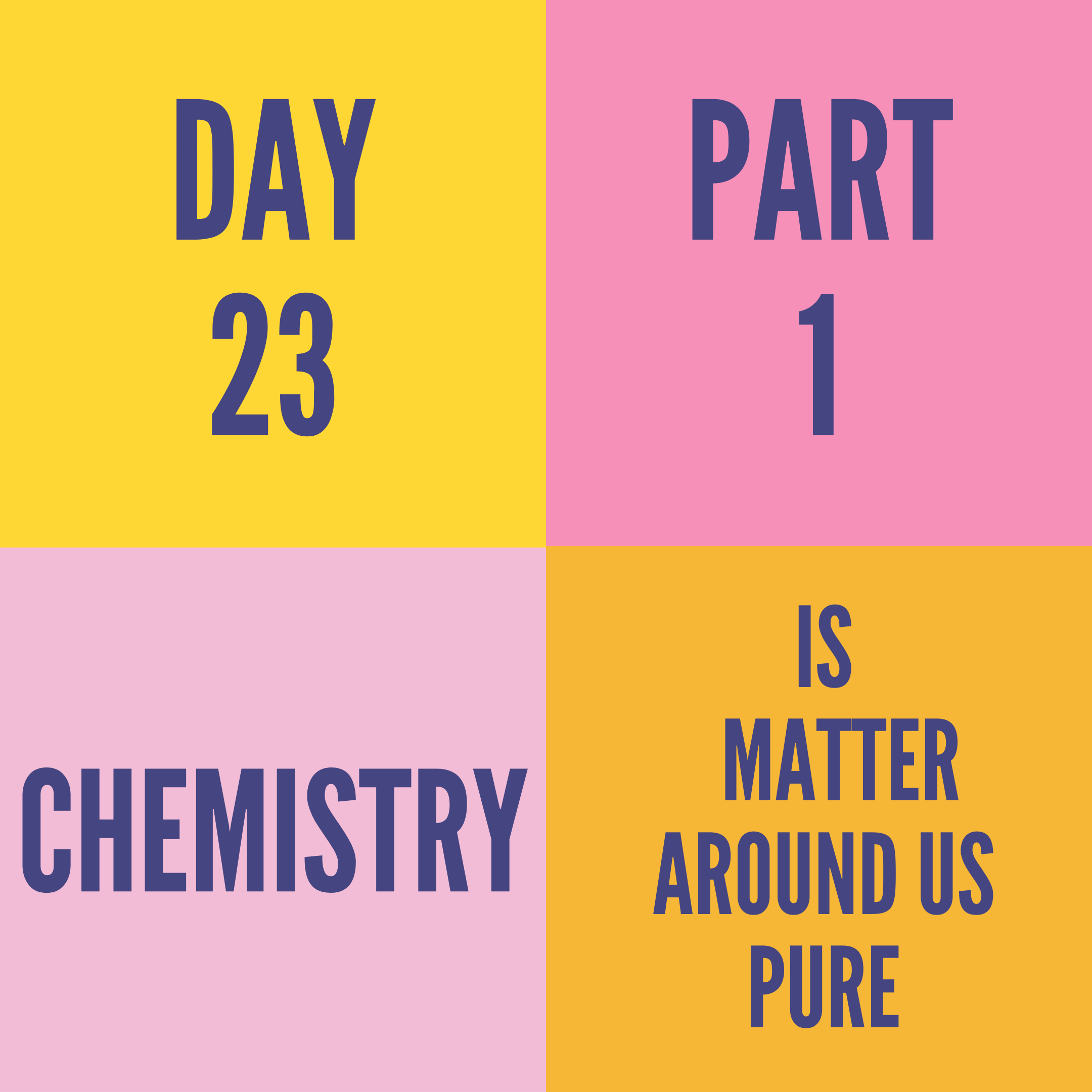 DAY-23 PART-1 IS MATTER AROUND US PURE