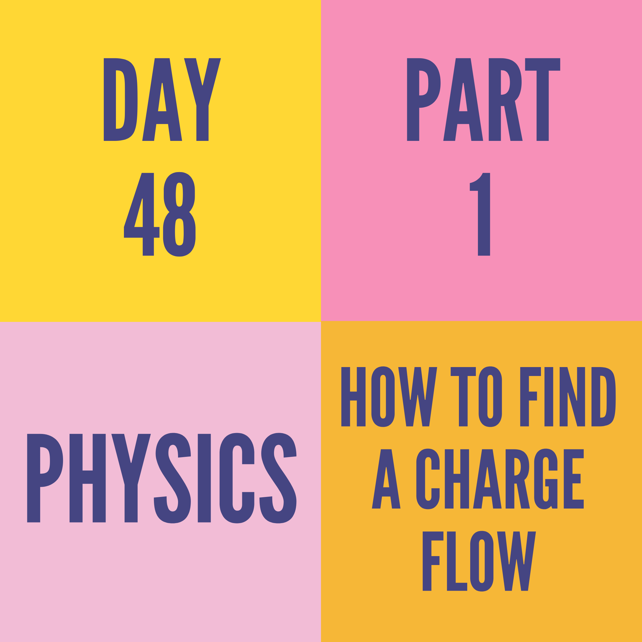 DAY-48 PART-1  HOW TO FIND A CHARGE FLOW