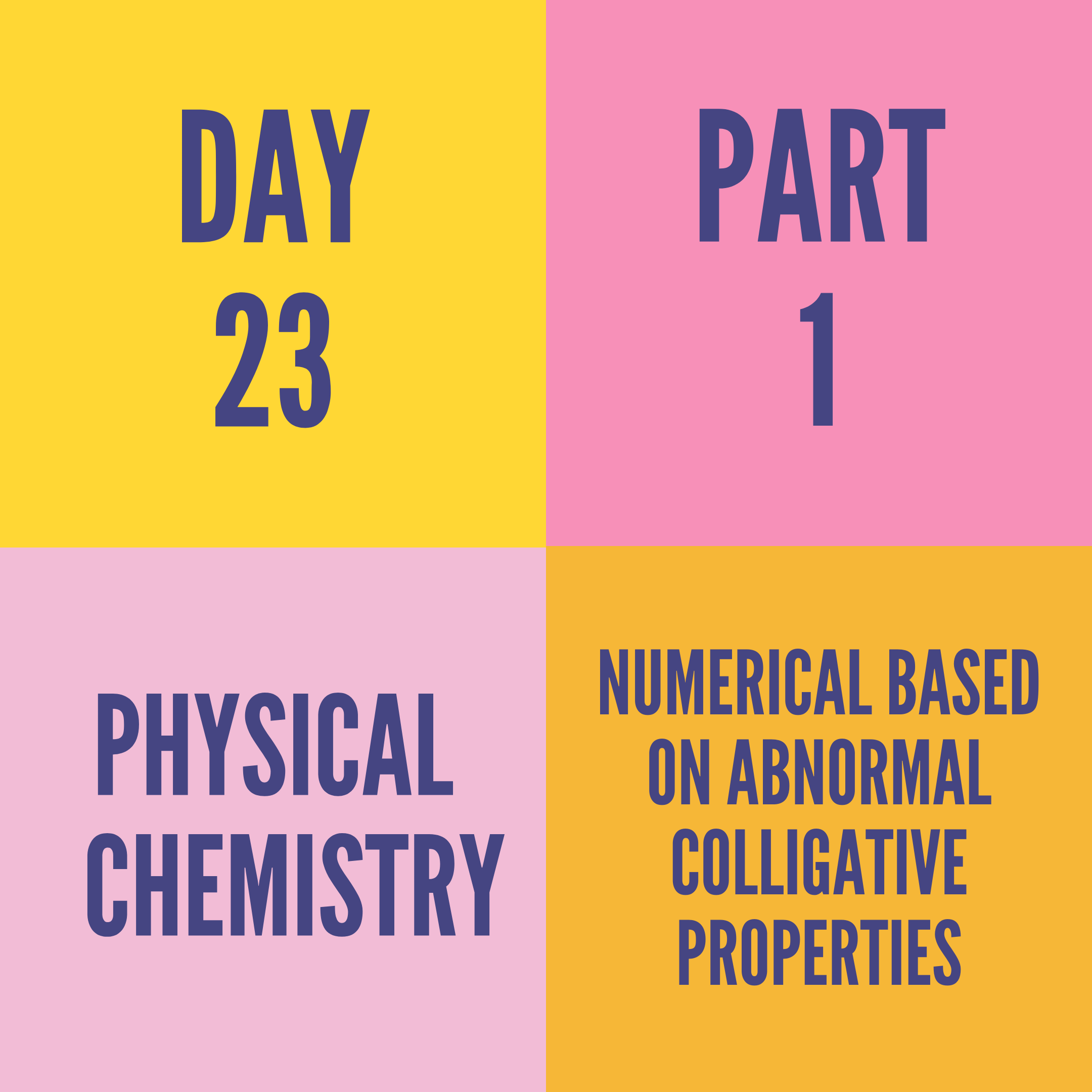 DAY-23 PART-1 NUMERICAL BASED ON ABNORMAL COLLIGATIVE PROPERTIES