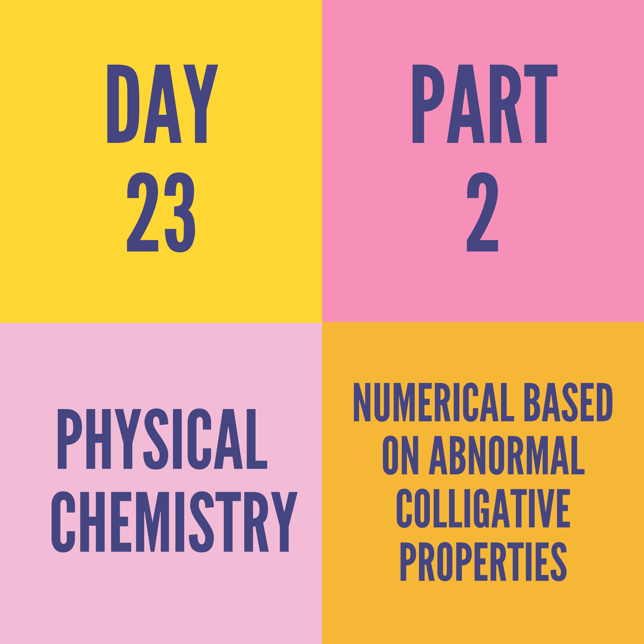 DAY-23 PART-2 NUMERICAL BASED ON ABNORMAL COLLIGATIVE PROPERTIES