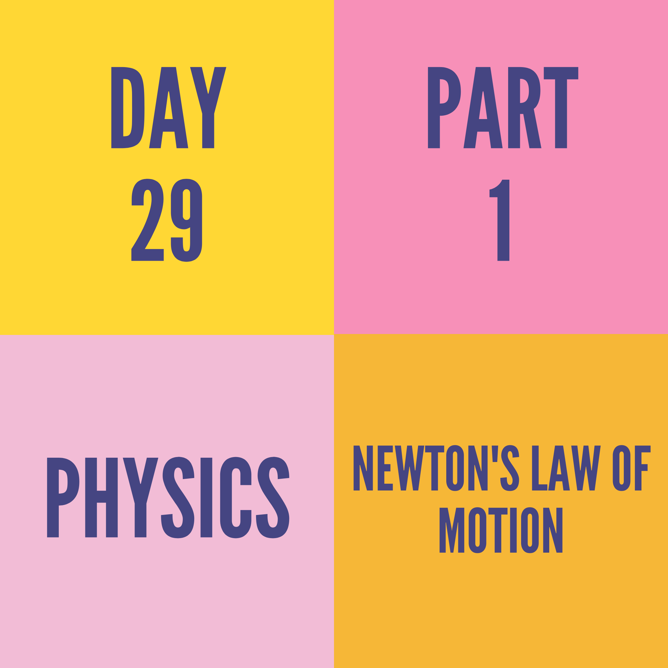 DAY-29 PART-1 NEWTON'S LAW OF MOTION