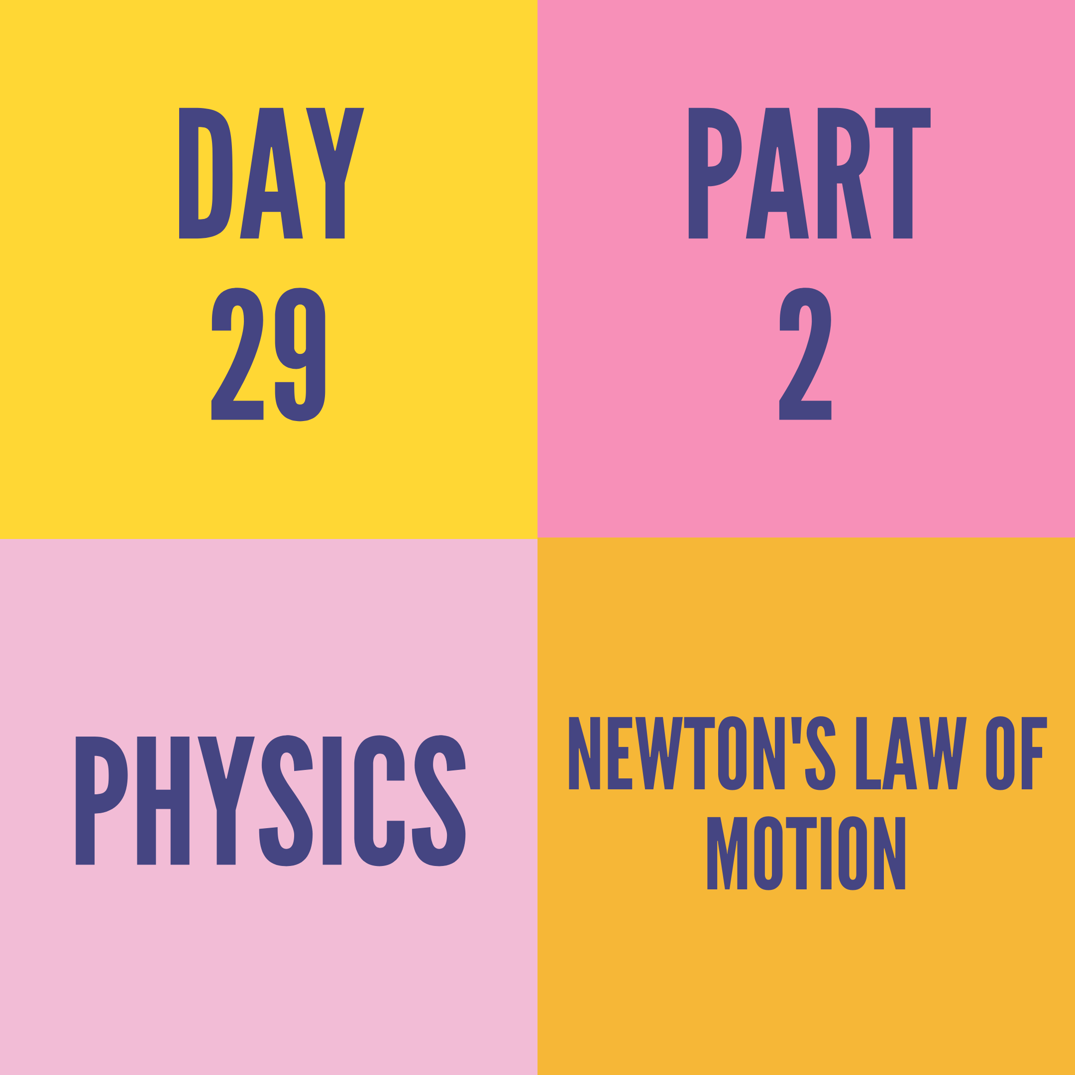 DAY-29 PART-2 NEWTON'S LAW OF MOTION