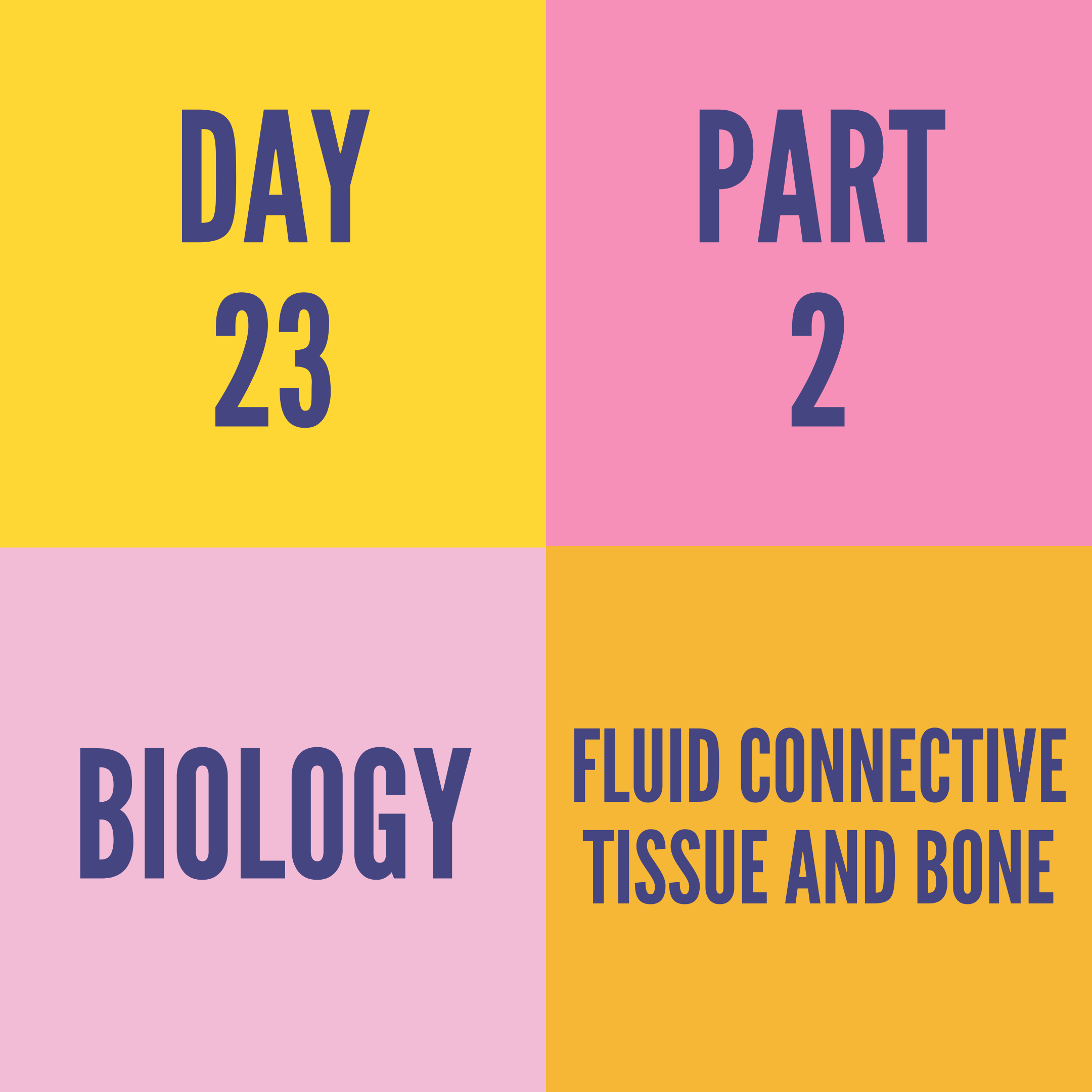 DAY-23 PART-2 FLUID CONNECTIVE TISSUE AND BONE