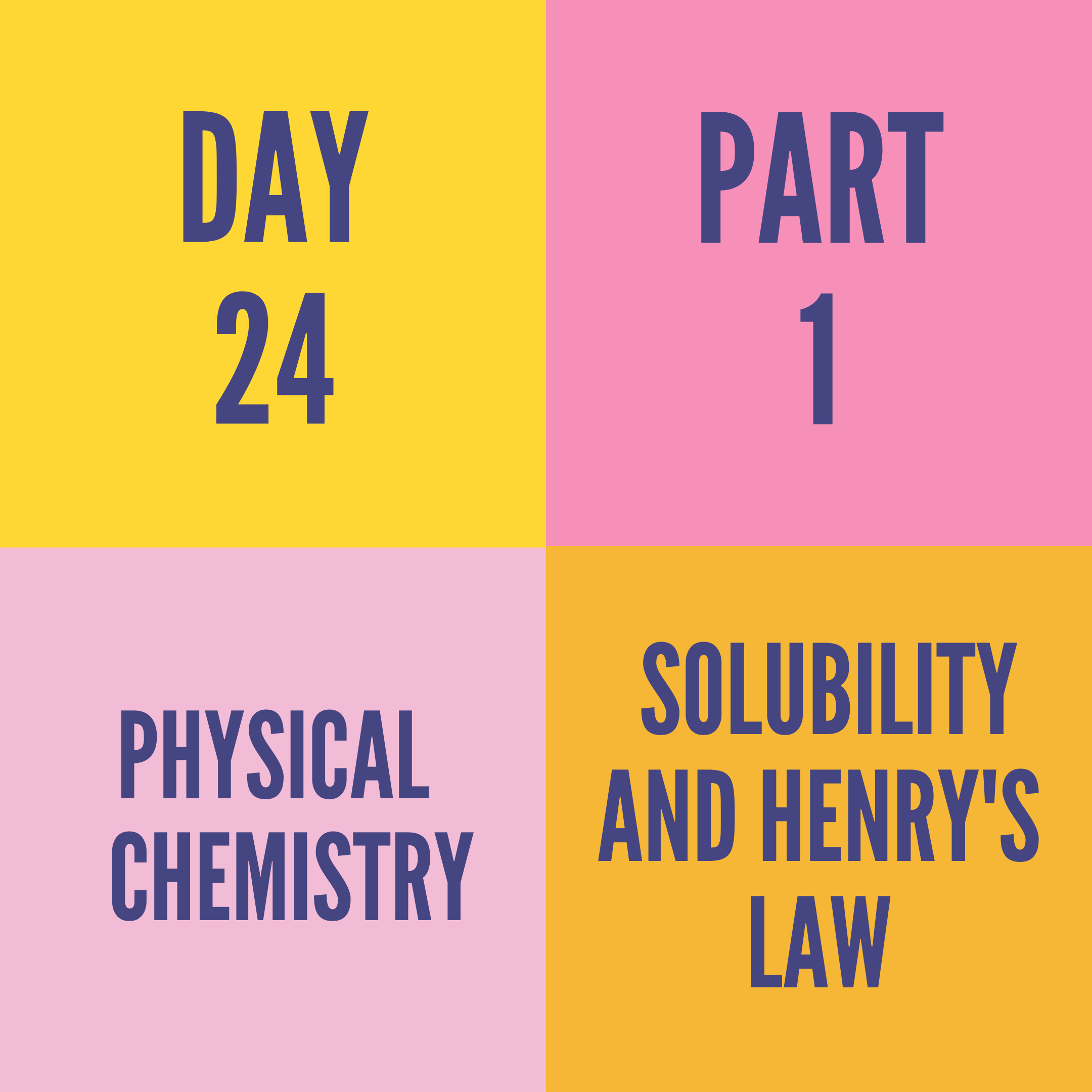 DAY-24 PART-1 SOLUBILITY AND HENRY'S LAW
