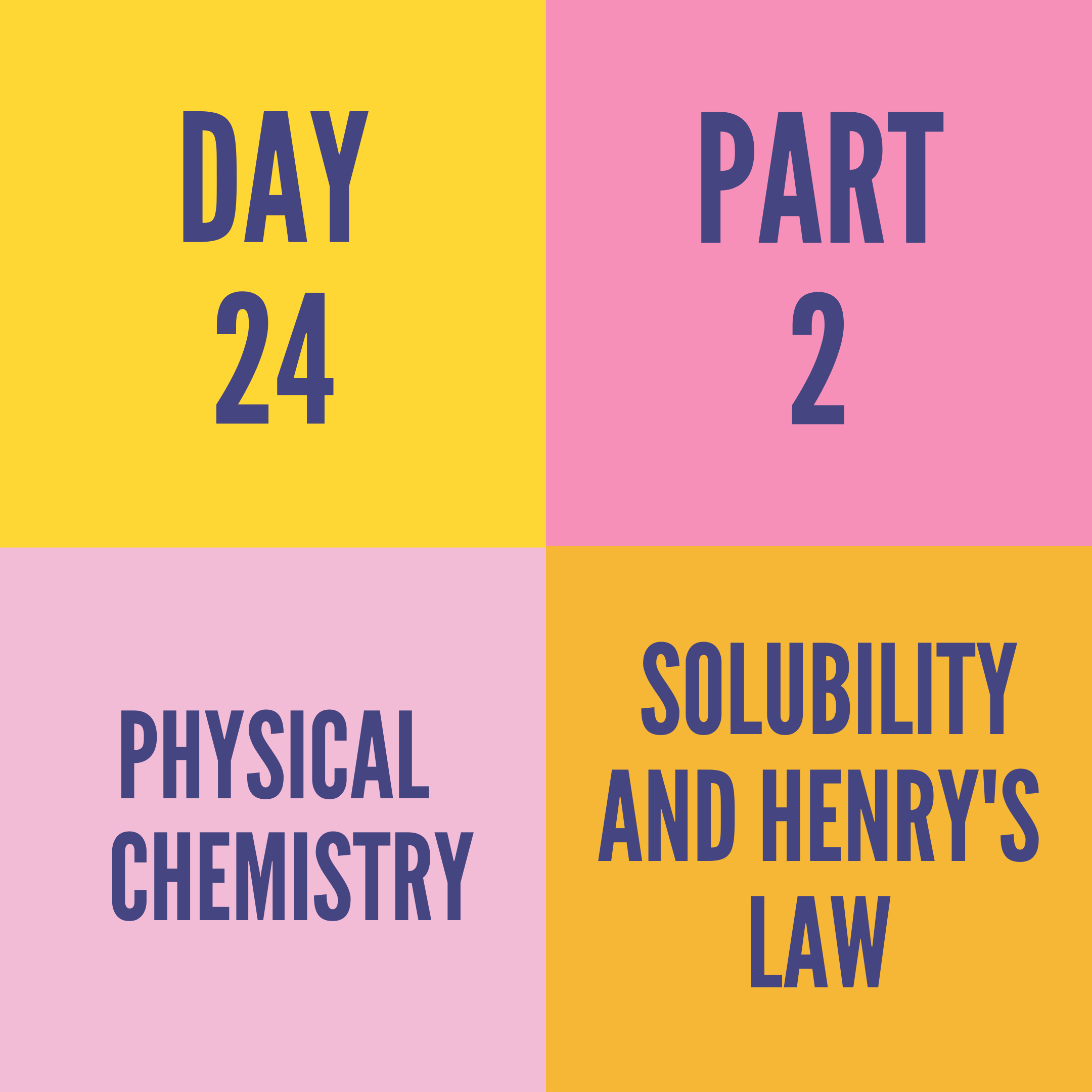 DAY-24 PART-2 SOLUBILITY AND HENRY'S LAW