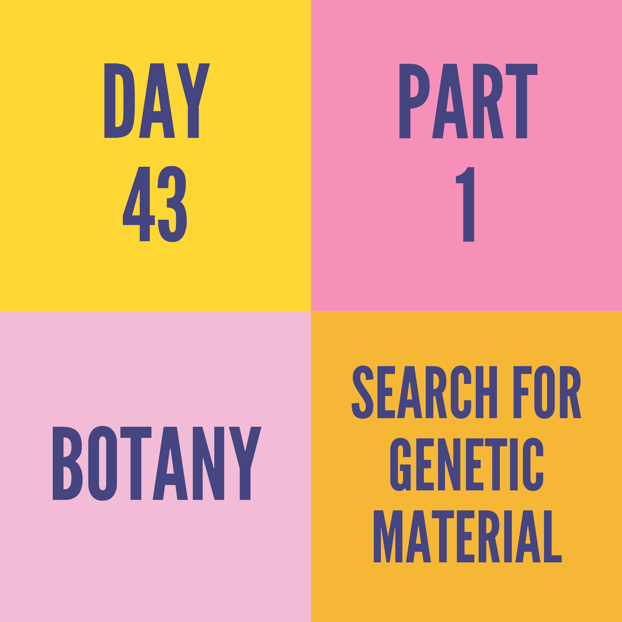 DAY-43 PART-1 SEARCH FOR GENETIC MATERIAL