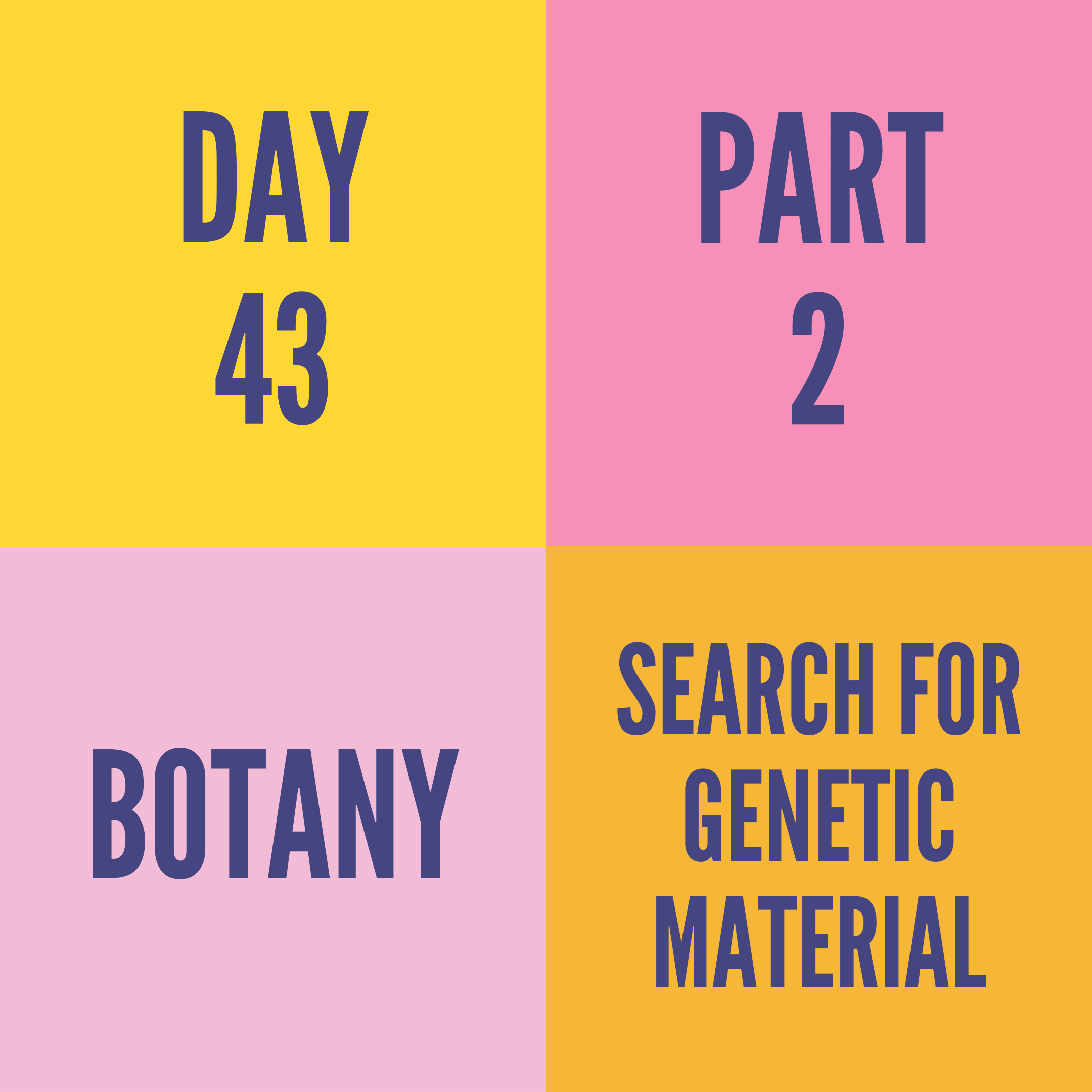 DAY-43 PART-2 SEARCH FOR GENETIC MATERIAL