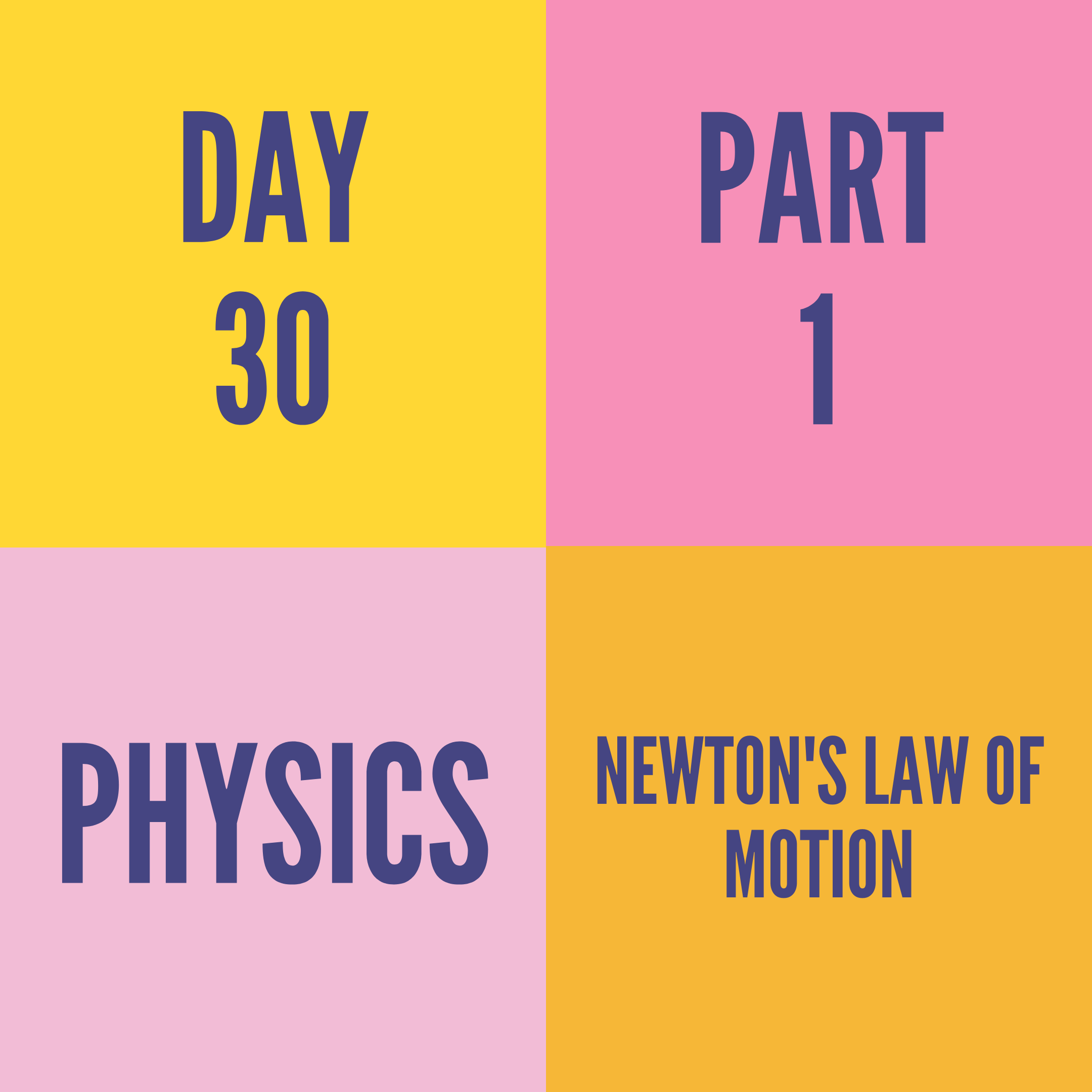 DAY-30 PART-1 NEWTON'S LAW OF MOTION