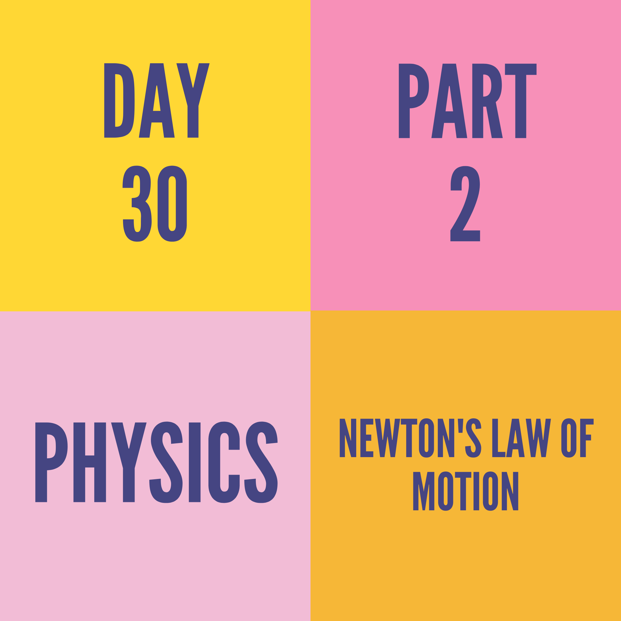 DAY-30 PART-2 NEWTON'S LAW OF MOTION