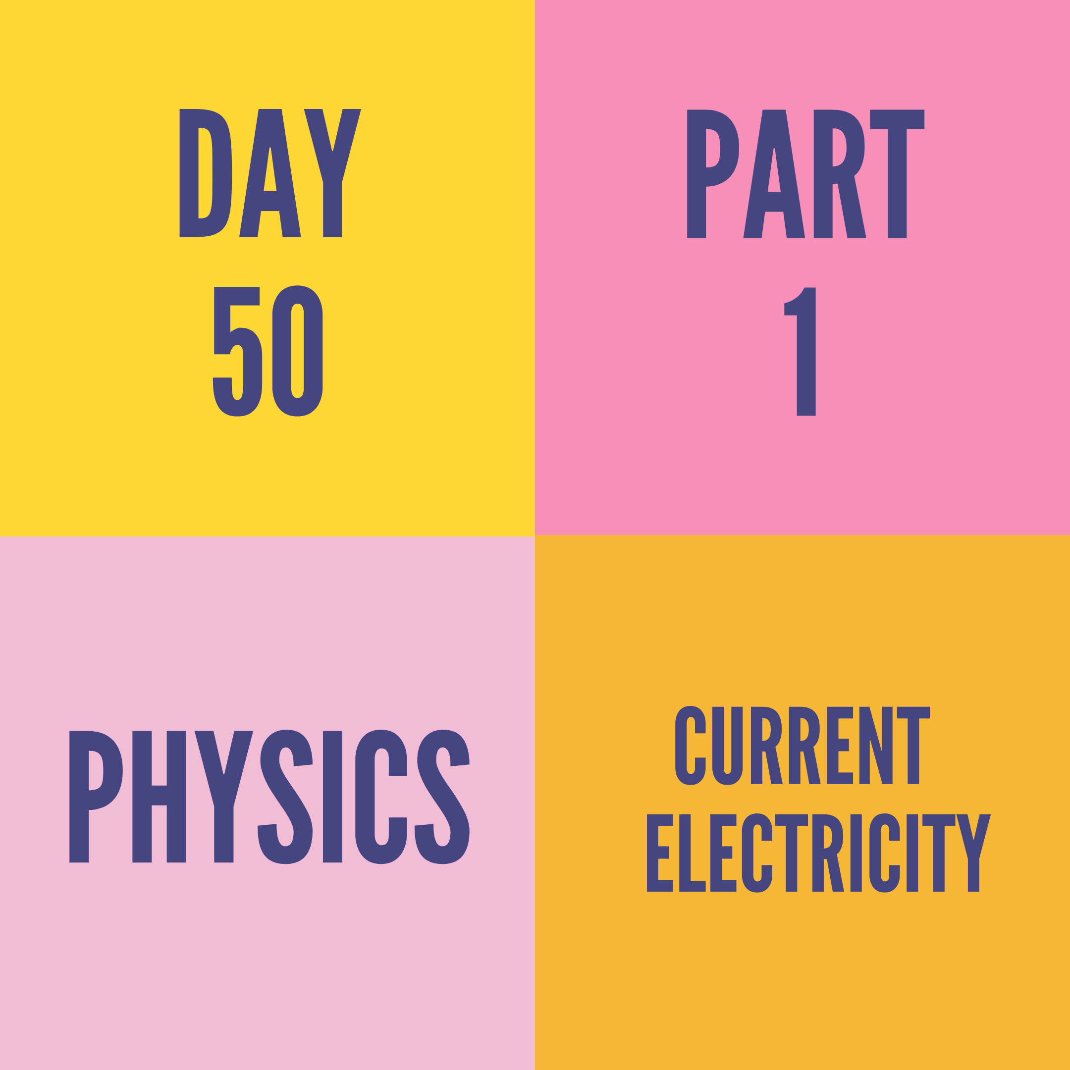 DAY-50 PART-1  CURRENT ELECTRICITY