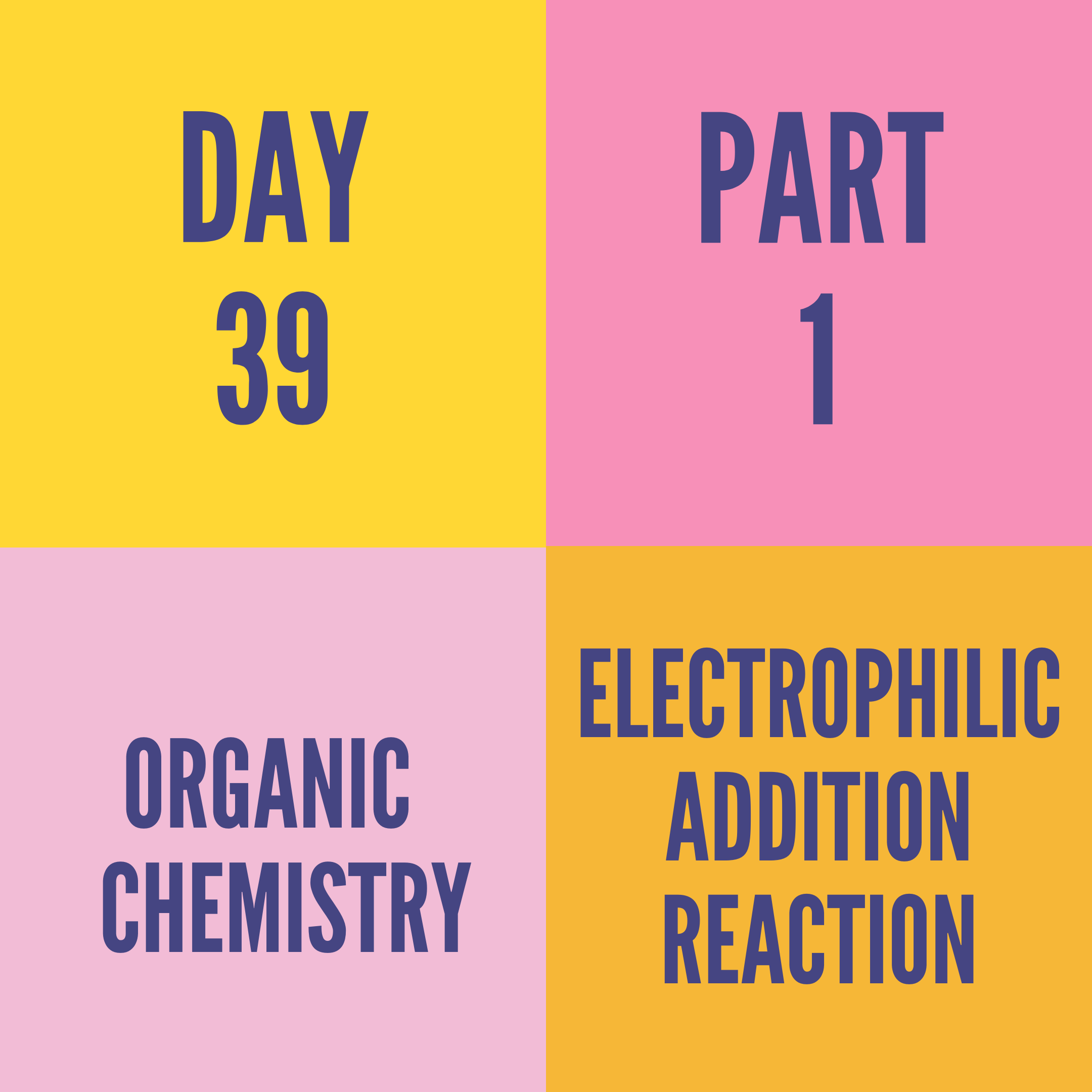 DAY-39 PART-1 ELECTROPHILIC ADDITION REACTION