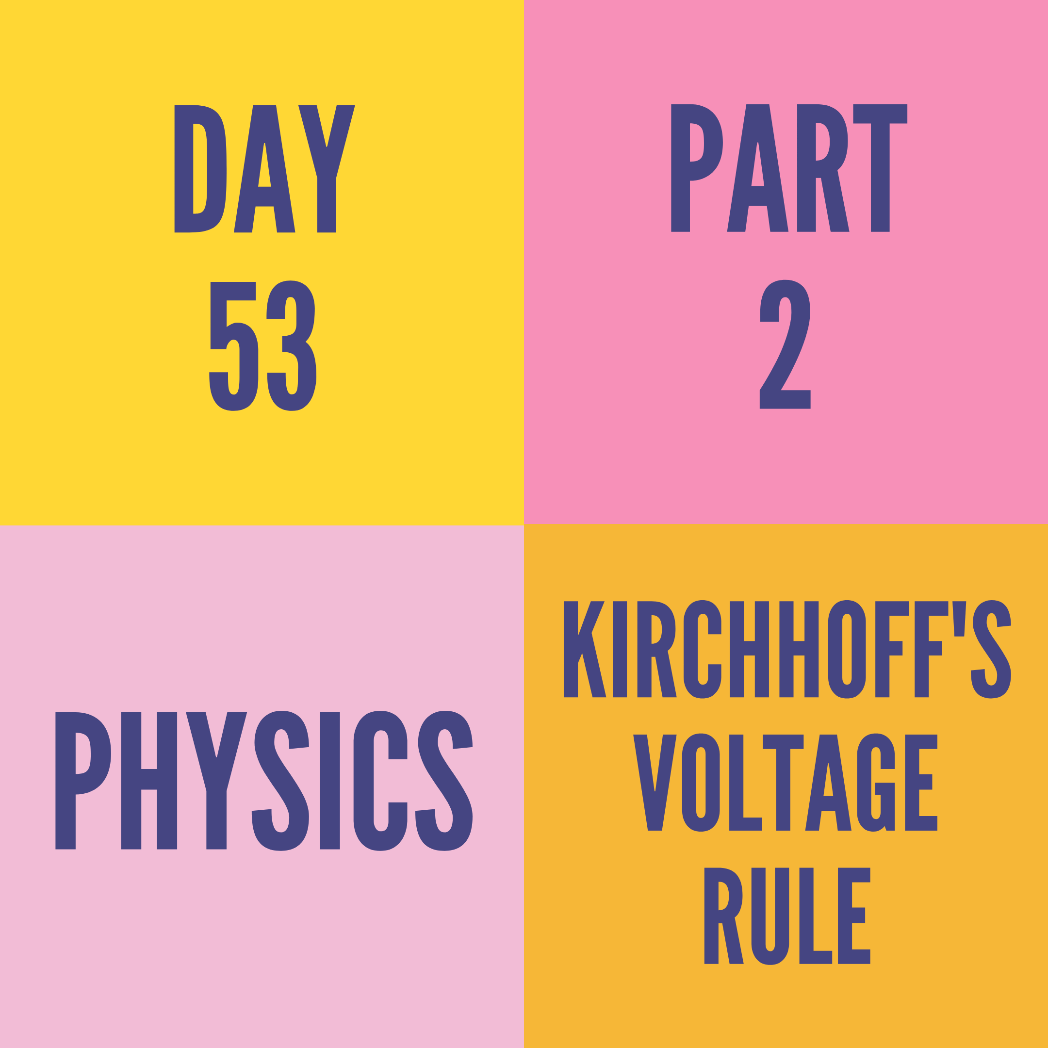 DAY-53 PART-2  KIRCHHOFF'S VOLTAGE RULE