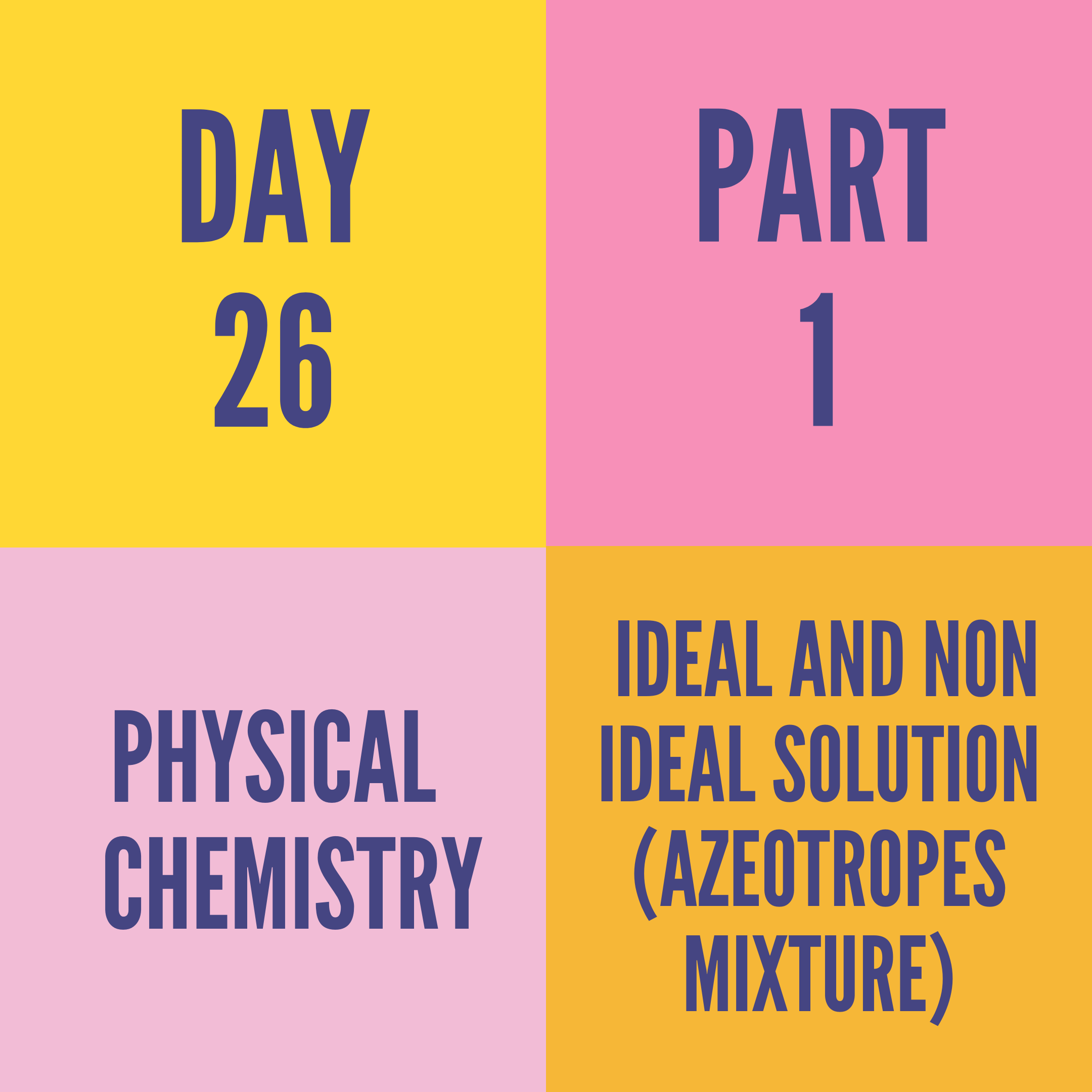 DAY-26 PART-1 IDEAL AND NON IDEAL SOLUTION (AZEOTROPES MIXTURE)