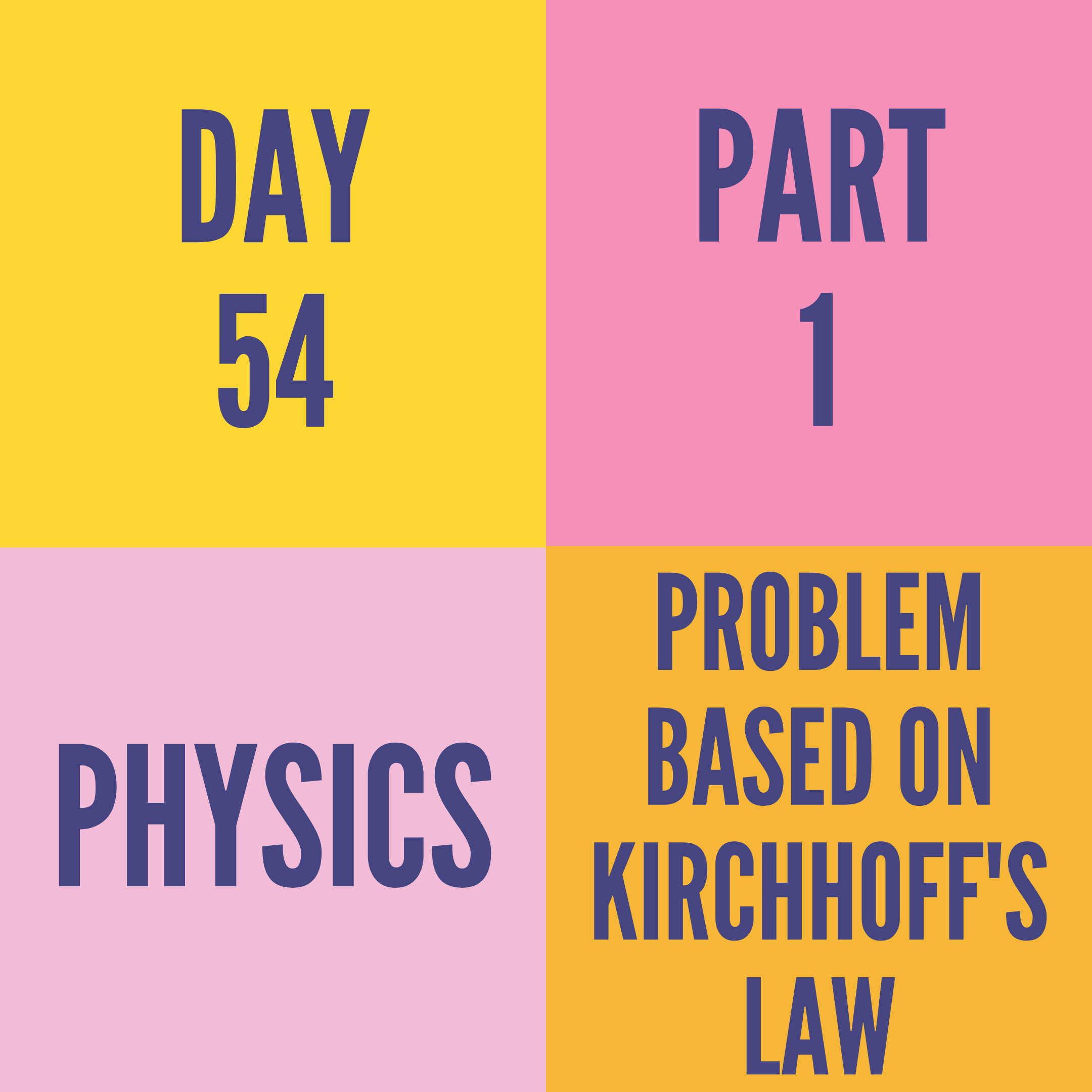 DAY-54 PART-1  PROBLEM BASED ON KIRCHHOFF'S LAW