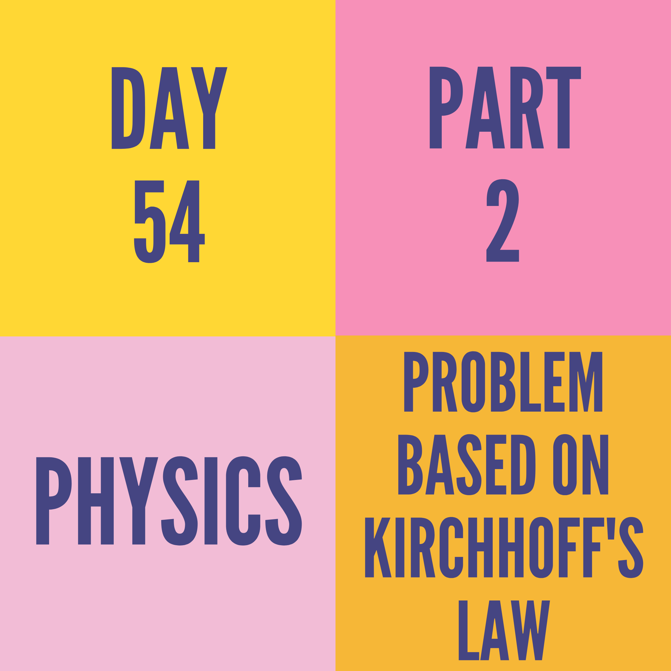 DAY-54 PART-2  PROBLEM BASED ON KIRCHHOFF'S LAW
