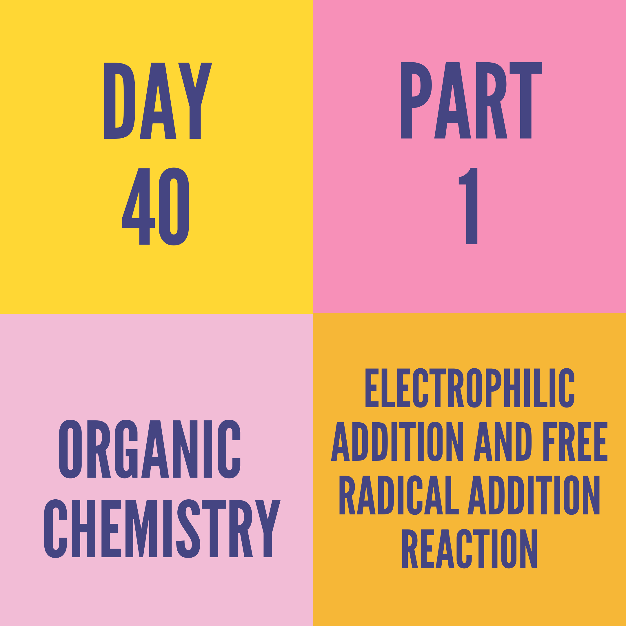 DAY-40 PART-1 ELECTROPHILIC ADDITION AND FREE RADICAL ADDITION REACTION