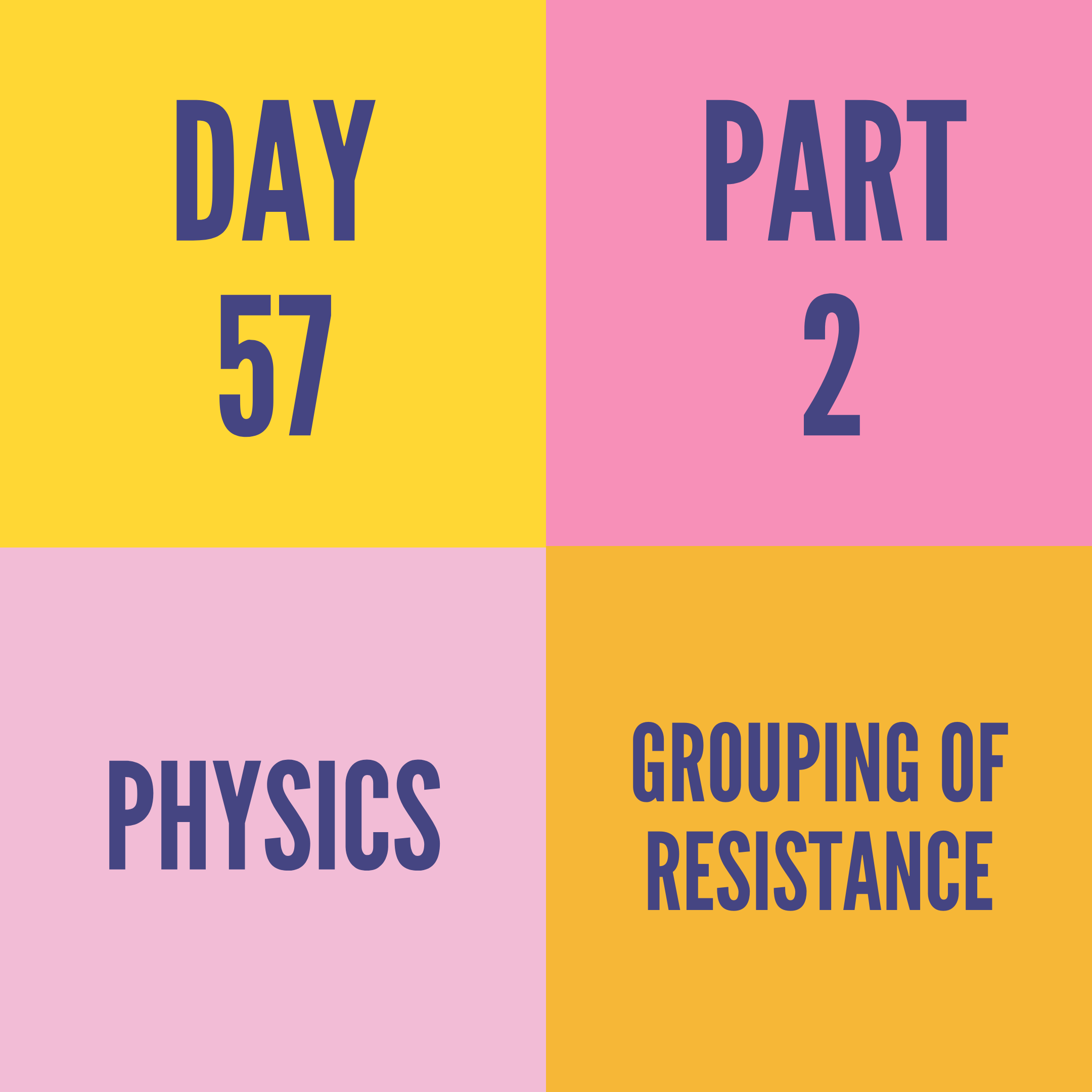 DAY-57 PART-2  GROUPING OF RESISTANCE