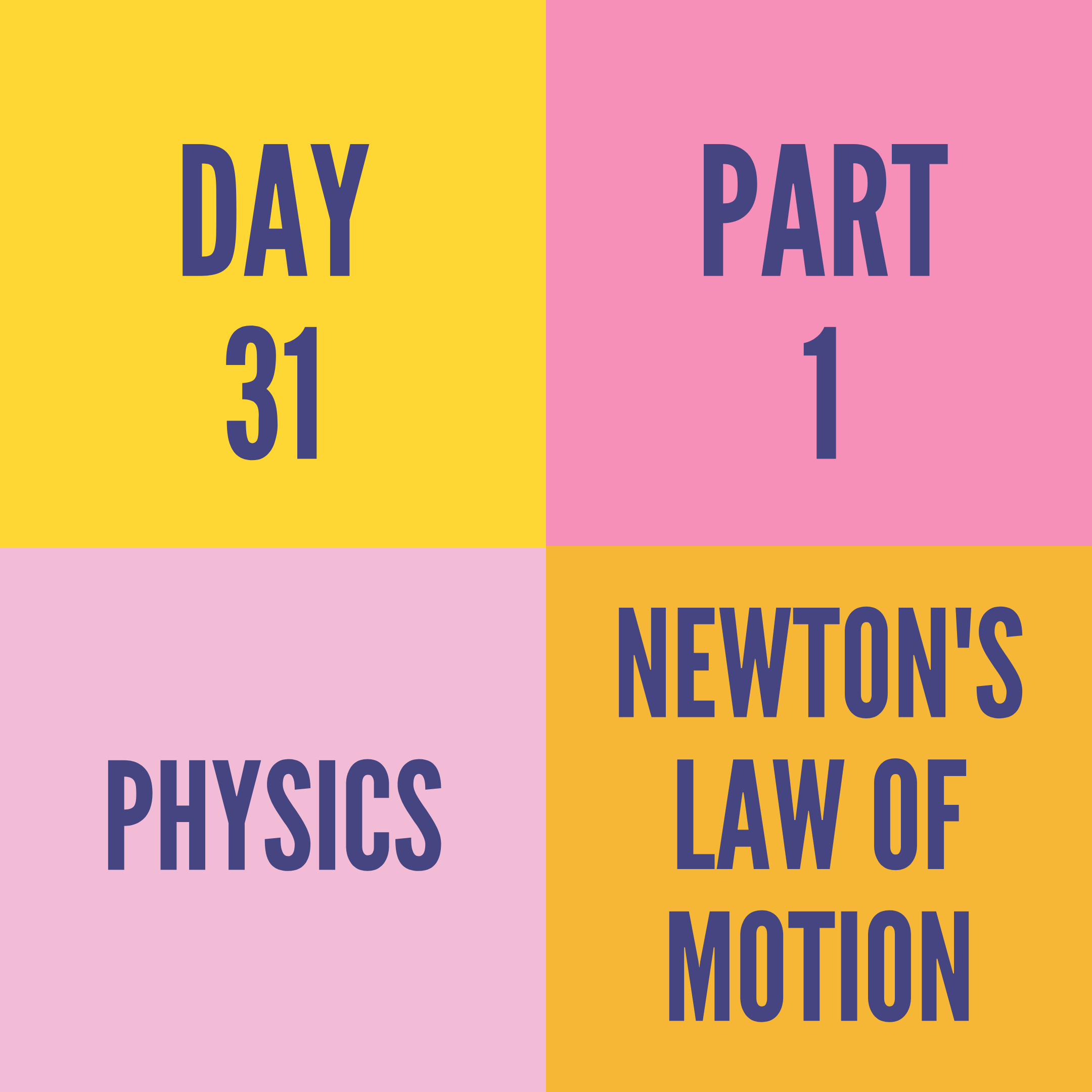 DAY-31 PART-1 NEWTON'S LAW OF MOTION