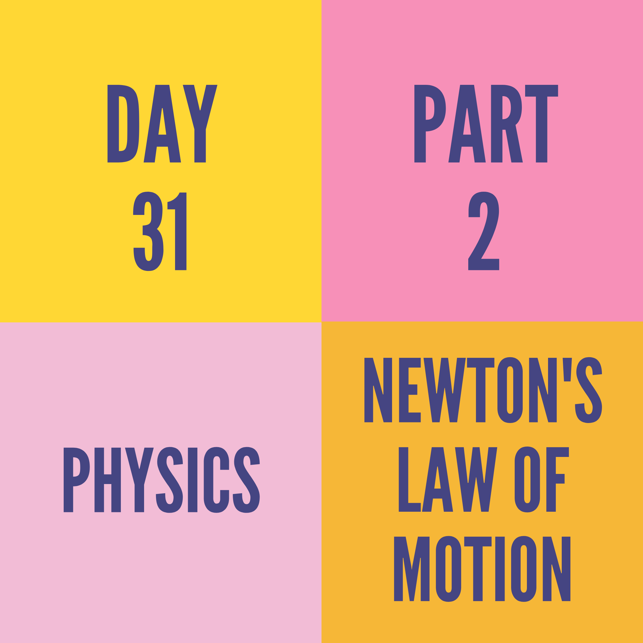 DAY-31 PART-2 NEWTON'S LAW OF MOTION
