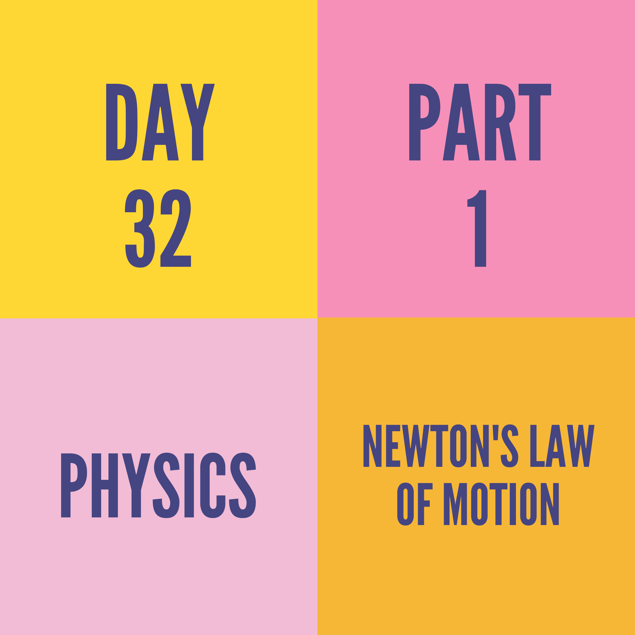 DAY-32 PART-1 NEWTON'S LAW OF MOTION