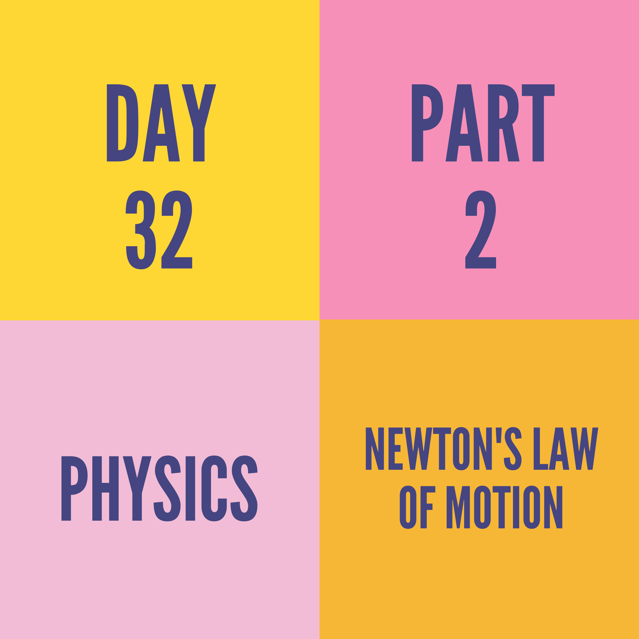 DAY-32 PART-2 NEWTON'S LAW OF MOTION