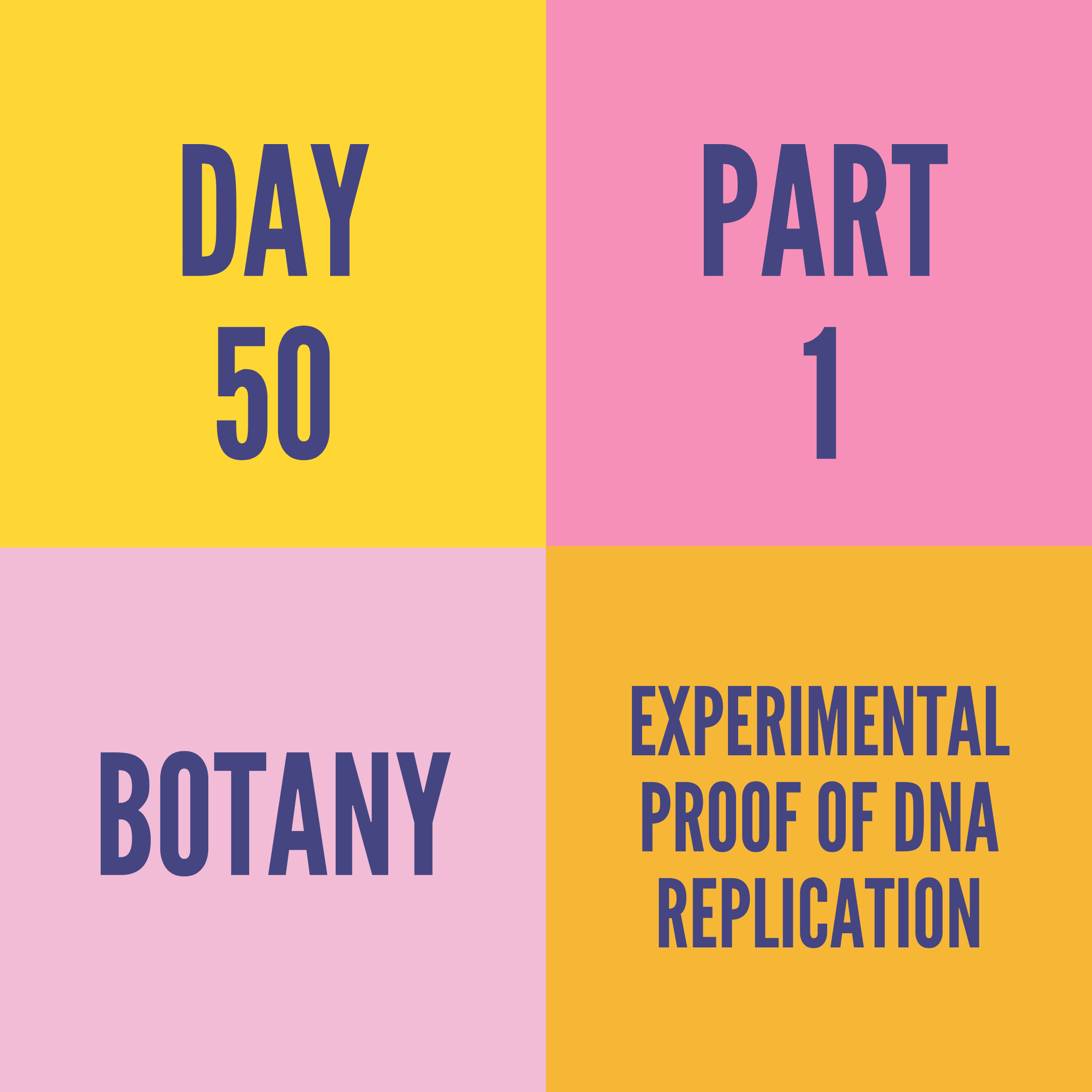 DAY-50 PART-1 EXPERIMENTAL PROOF OF DNA REPLICATION