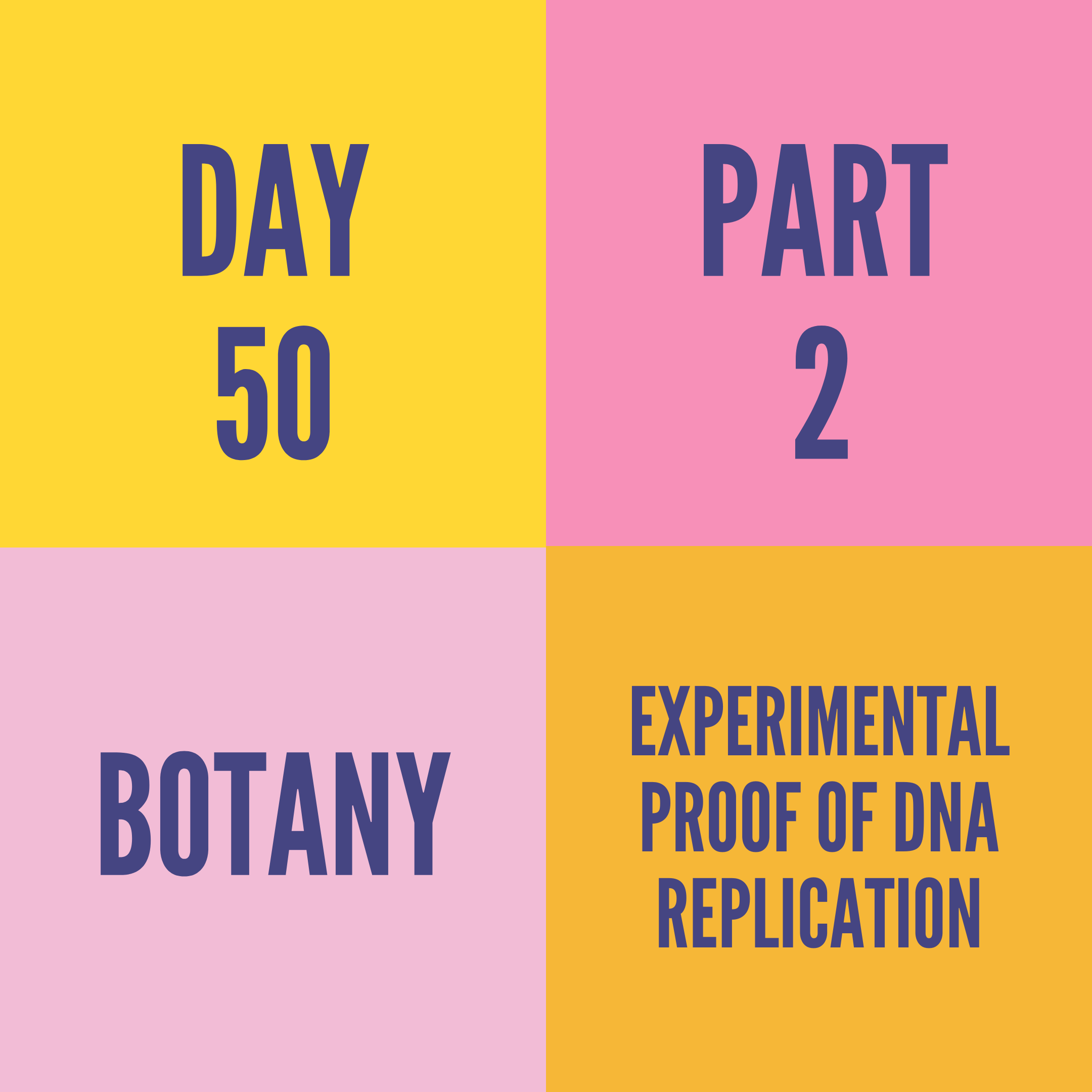 DAY-50 PART-2 EXPERIMENTAL PROOF OF DNA REPLICATION