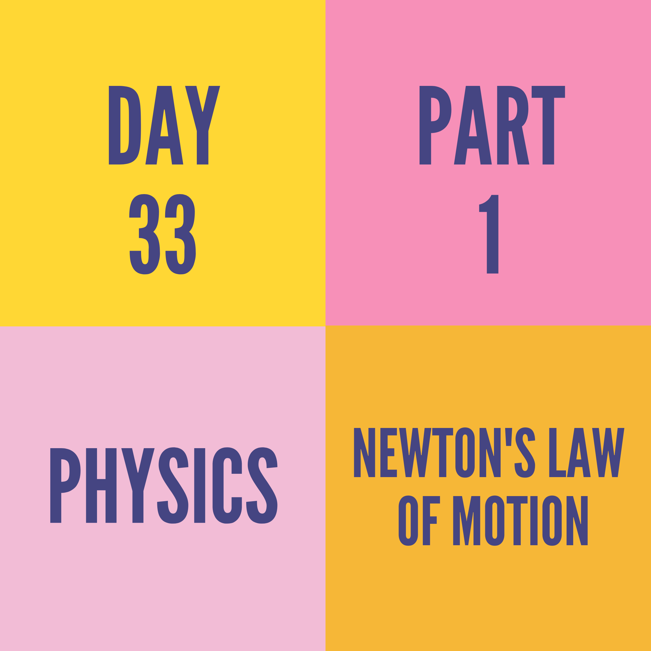 DAY-33 PART-1 NEWTON'S LAW OF MOTION