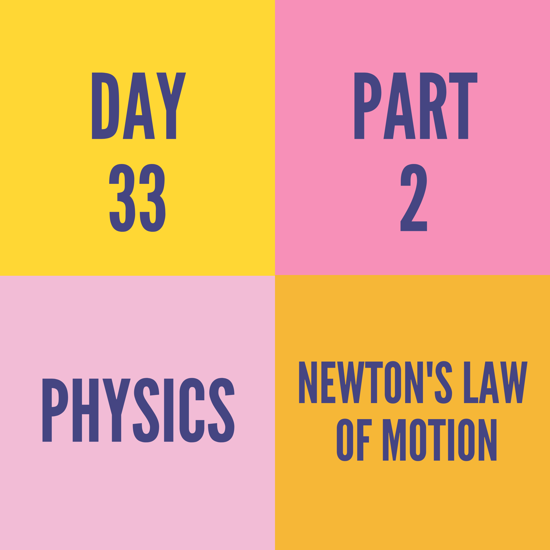 DAY-33 PART-2 NEWTON'S LAW OF MOTION